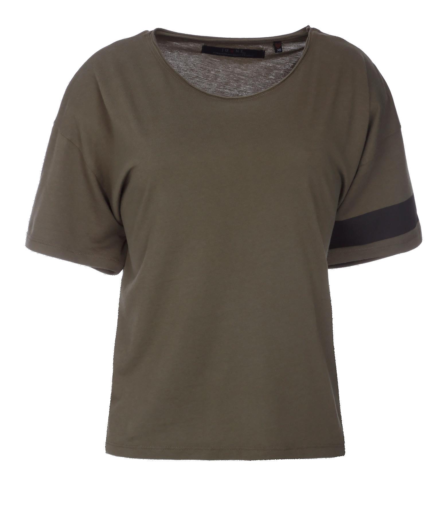 Tee-shirt Lukas Coton Lin Kaki Noir