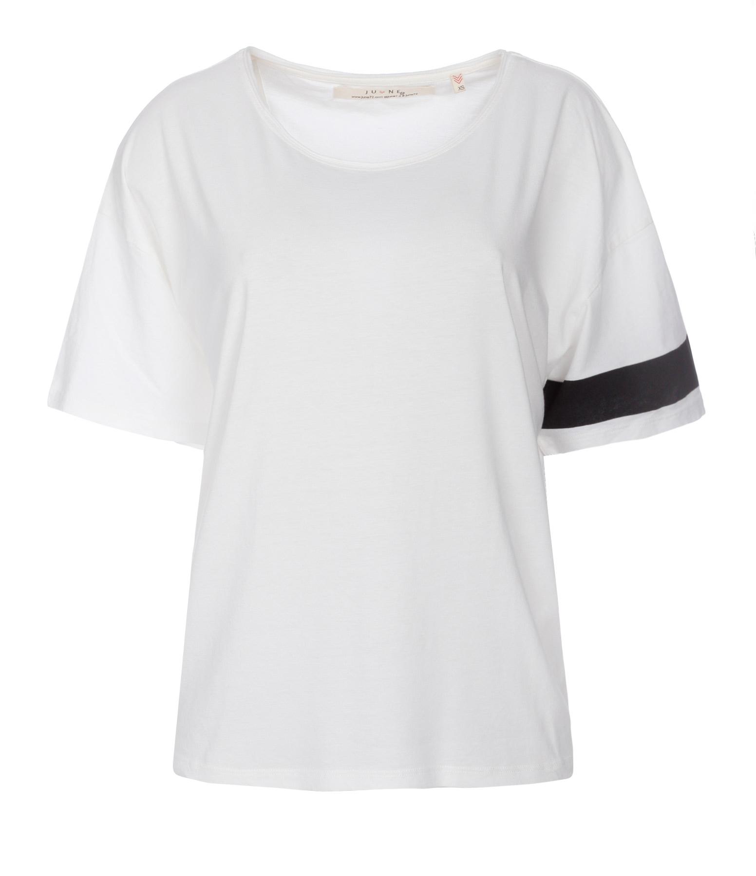 Tee-shirt Lukas Coton Lin Blanc Logo Noir