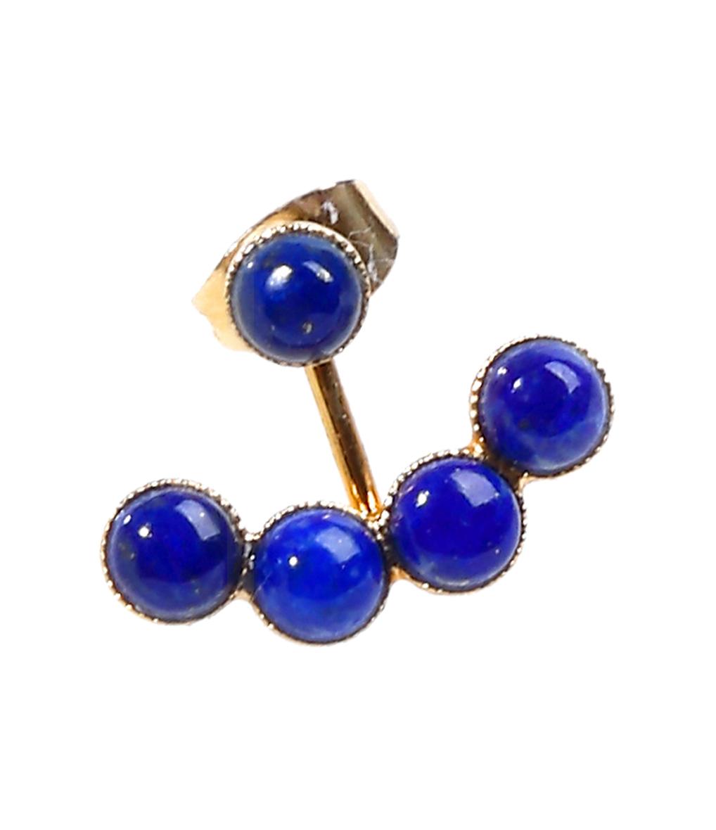 Boucles d'oreilles Five Plaqué Or Lapis Lazuli (vendue à l'unité)