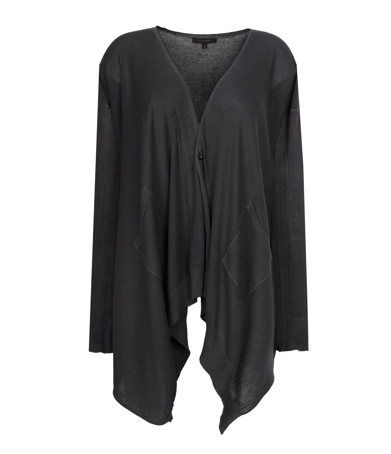 Cardigan Asymétrique Coton Noir