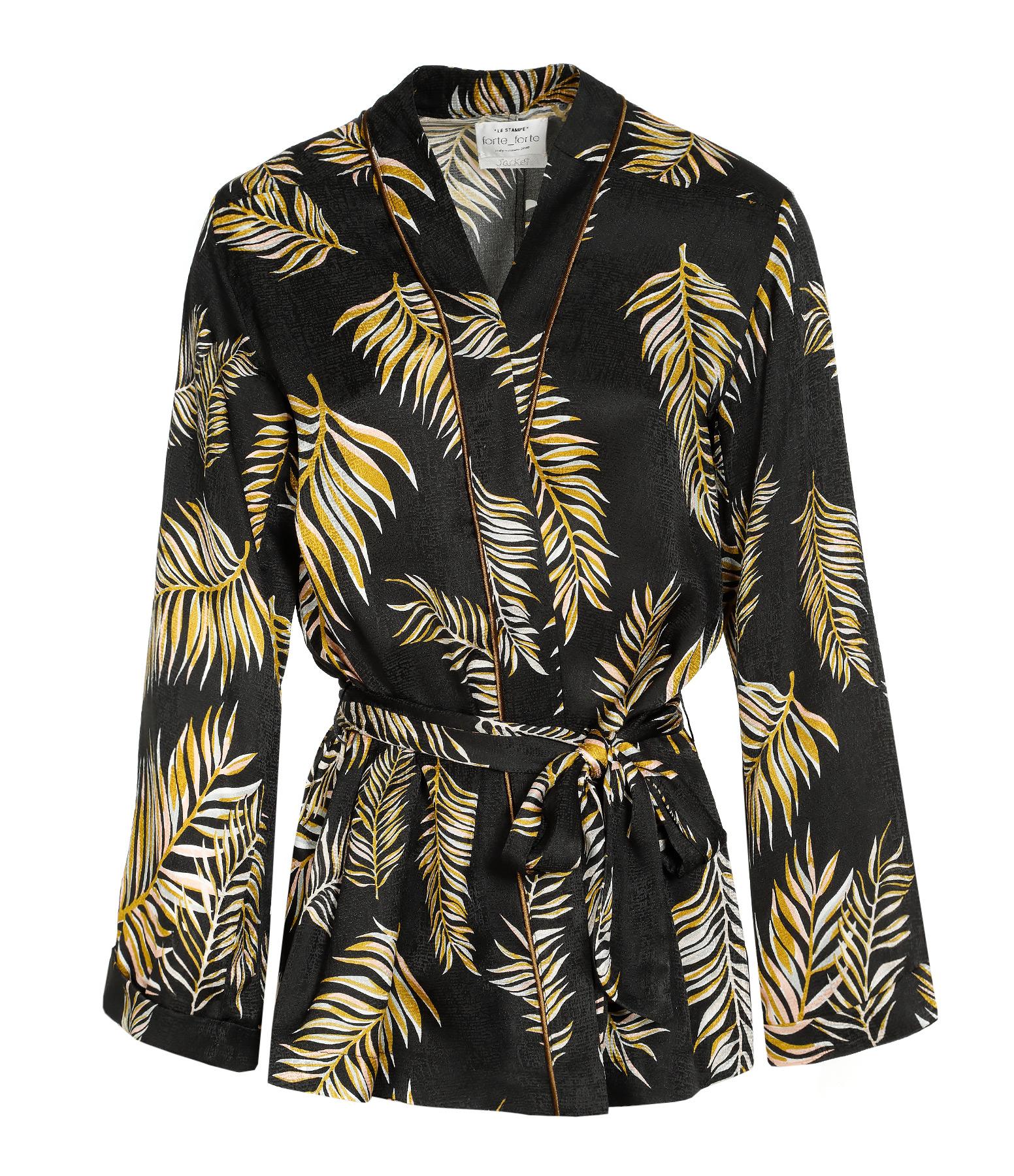 Kimono Desert Leaf Satin Noir