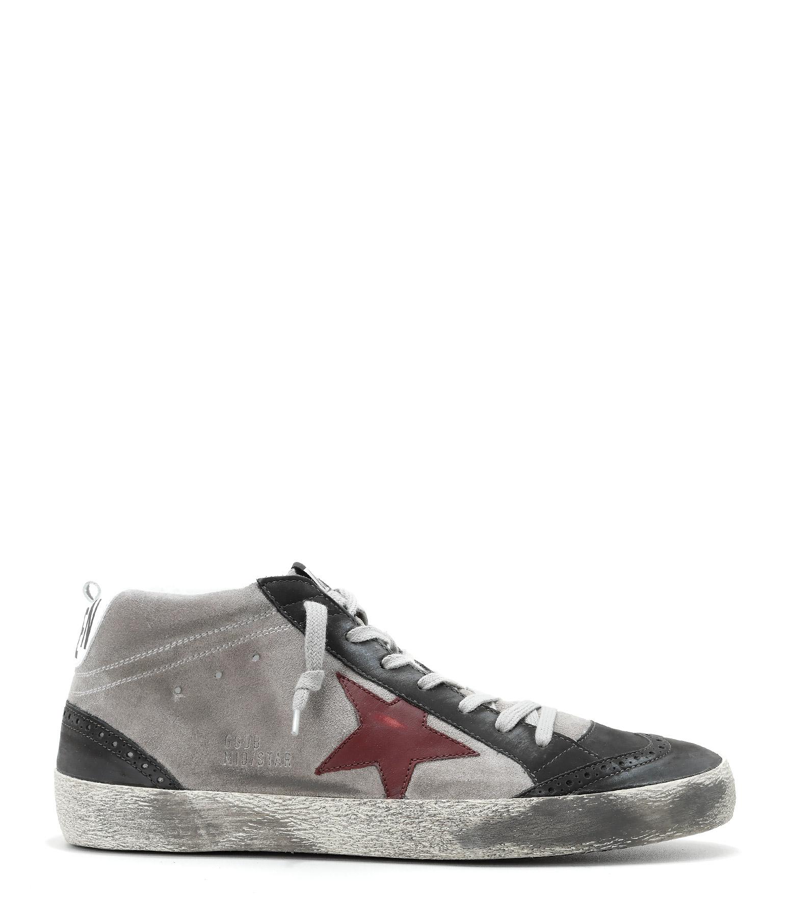Sneakers Homme Mid Star Grey Suede Burgundy Star