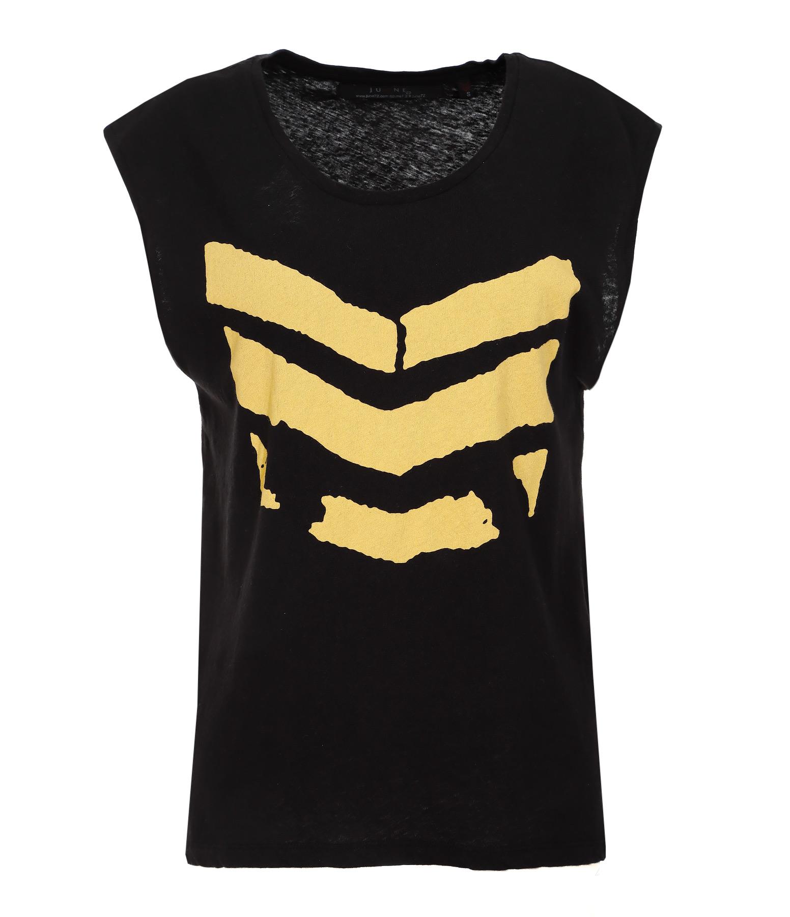 Tee-shirt Hayden Broken Coton Lin Noir Logo Jaune