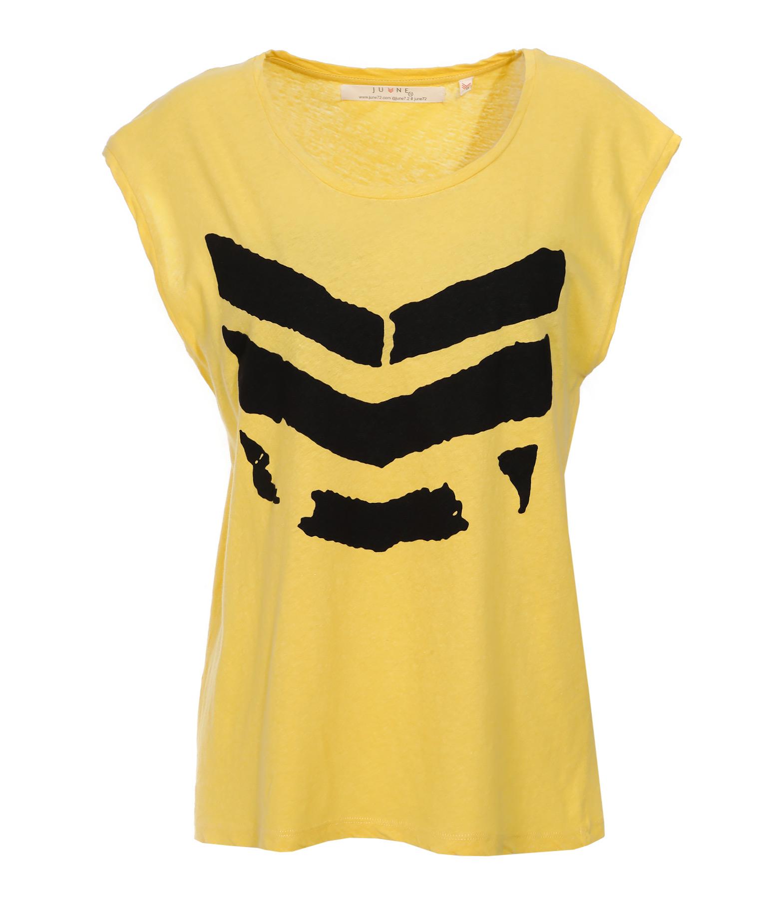 Tee-shirt Hayden Broken Coton Lin Jaune Logo Noir