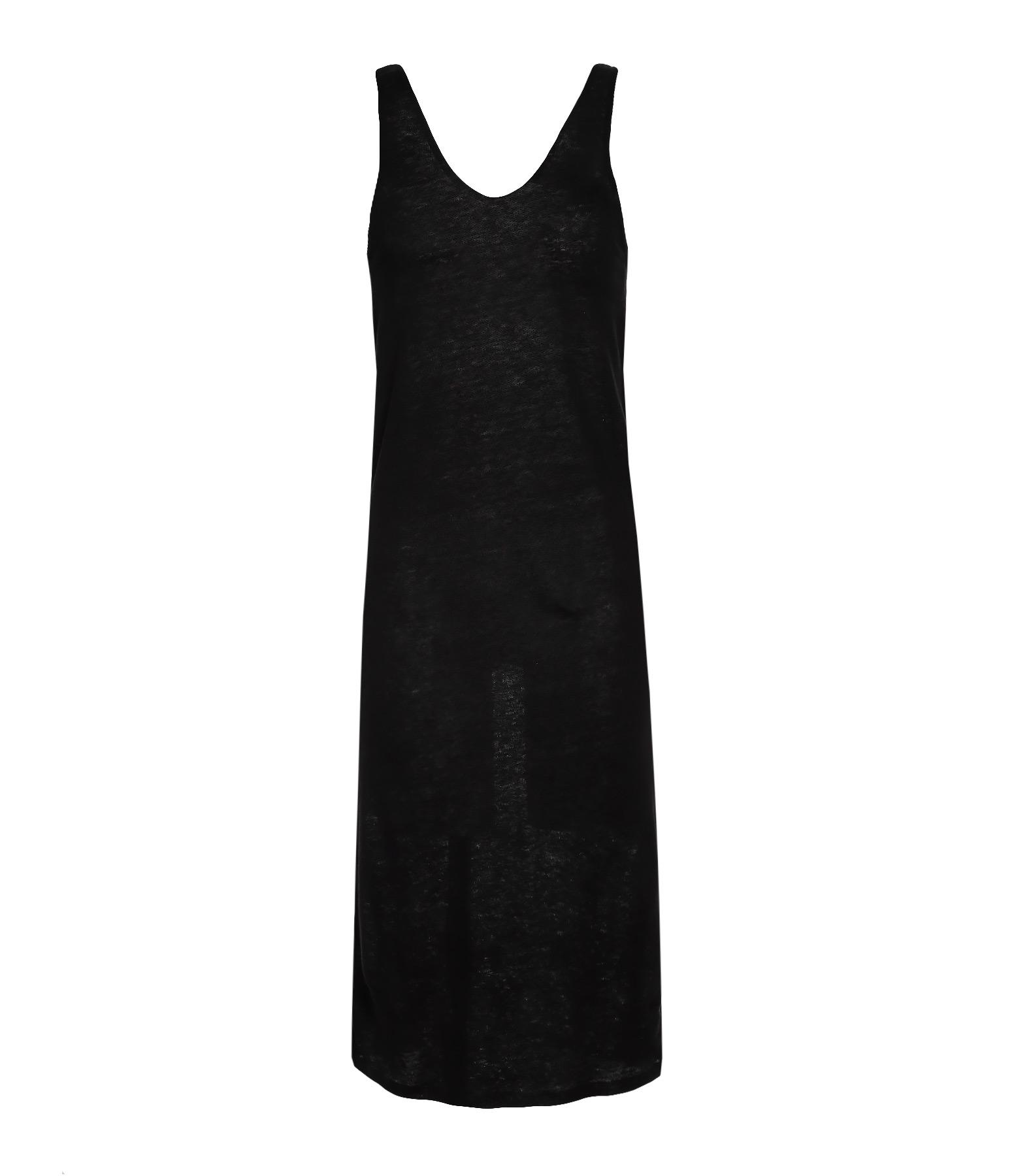Robe V Décolleté Dos Lin Noir