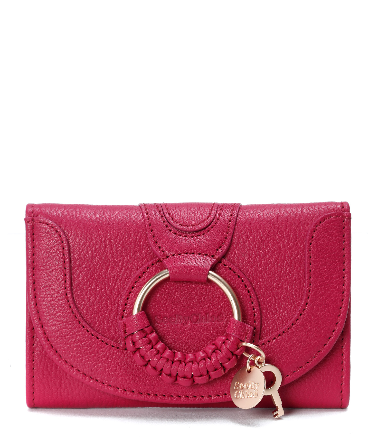 Portefeuille Hana Compact Cuir Berry Pink