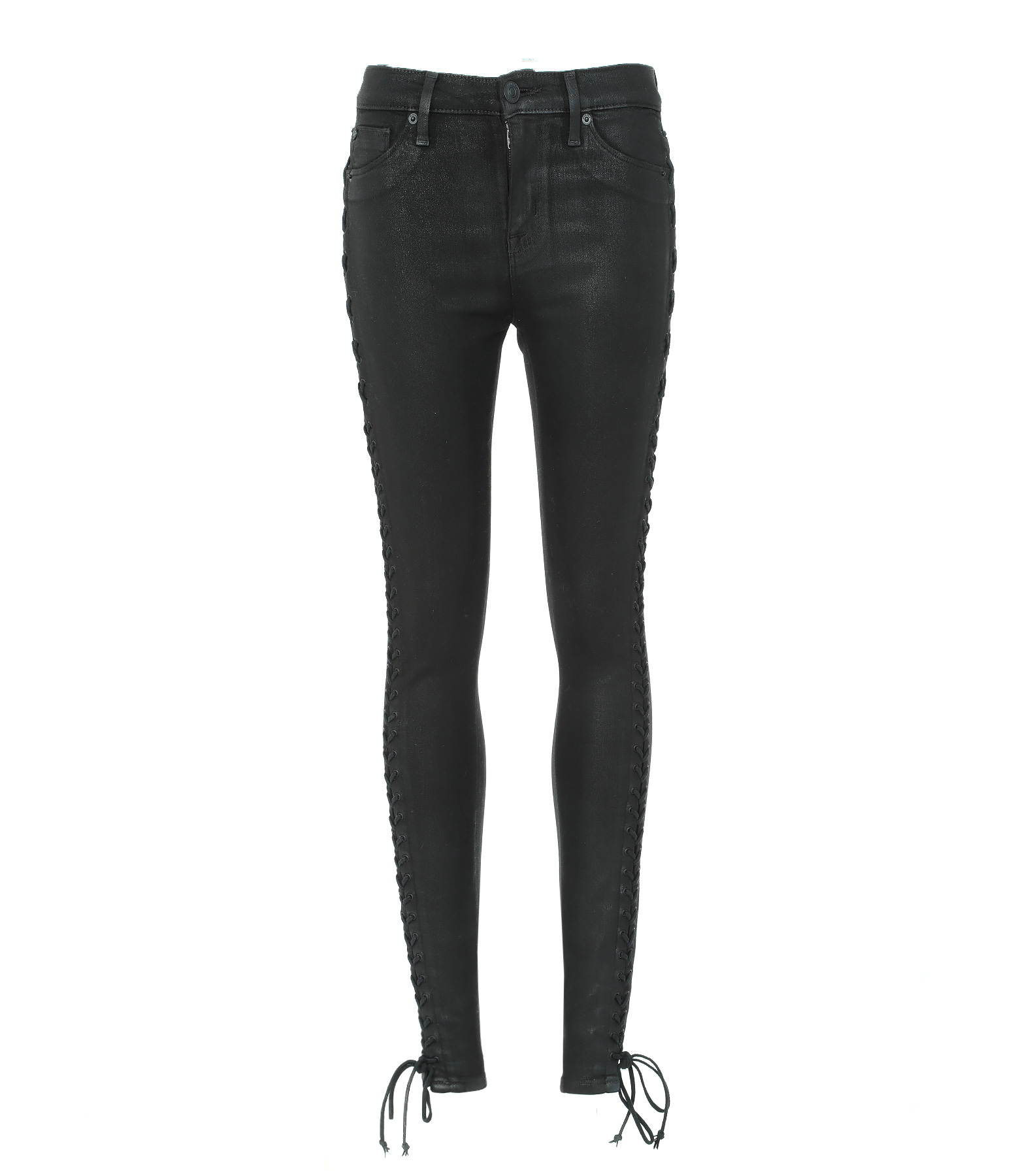 Jean The Stevie Mid Rise Cont Black Coated