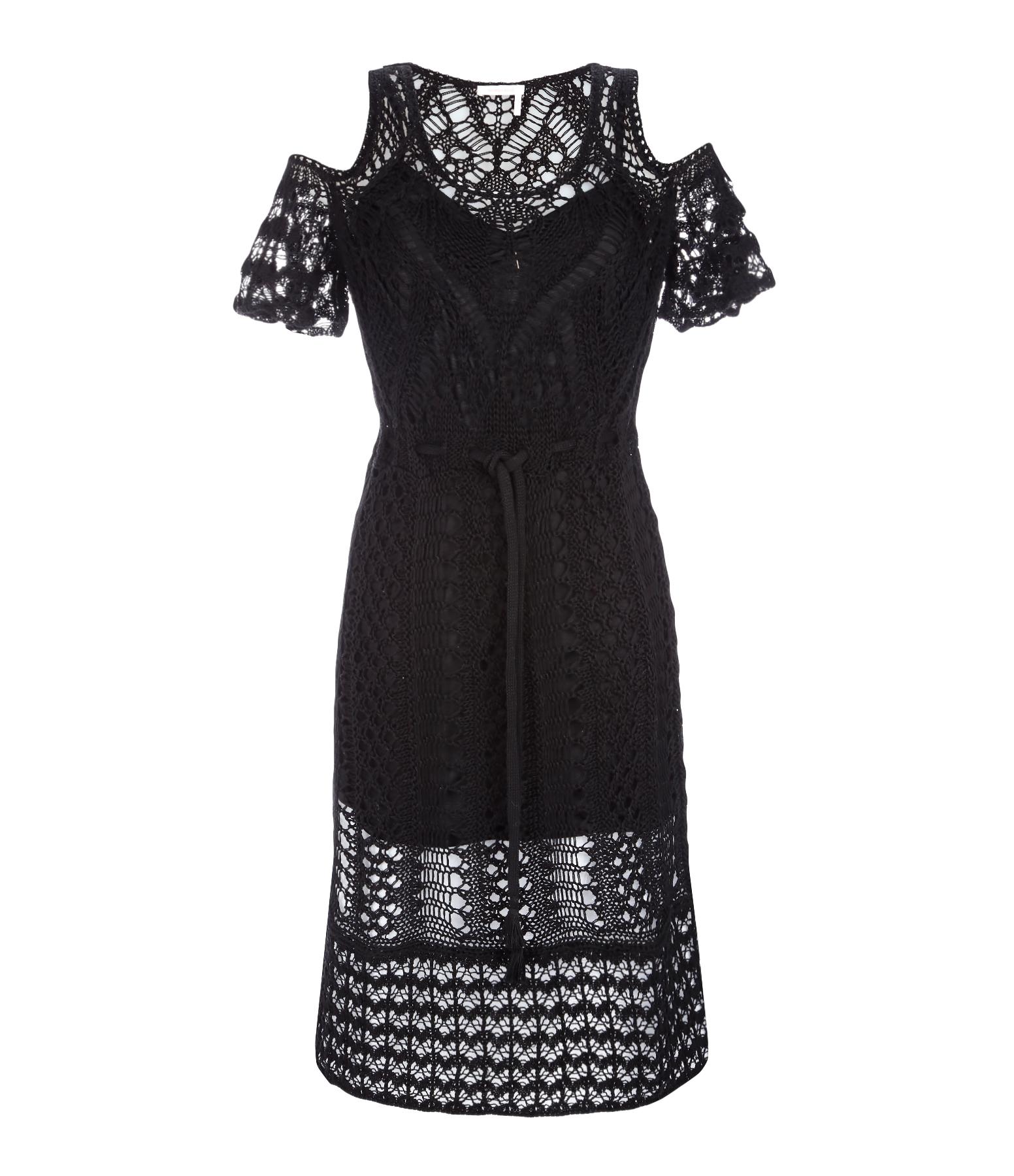 Robe Courte Crochet Coton Noir