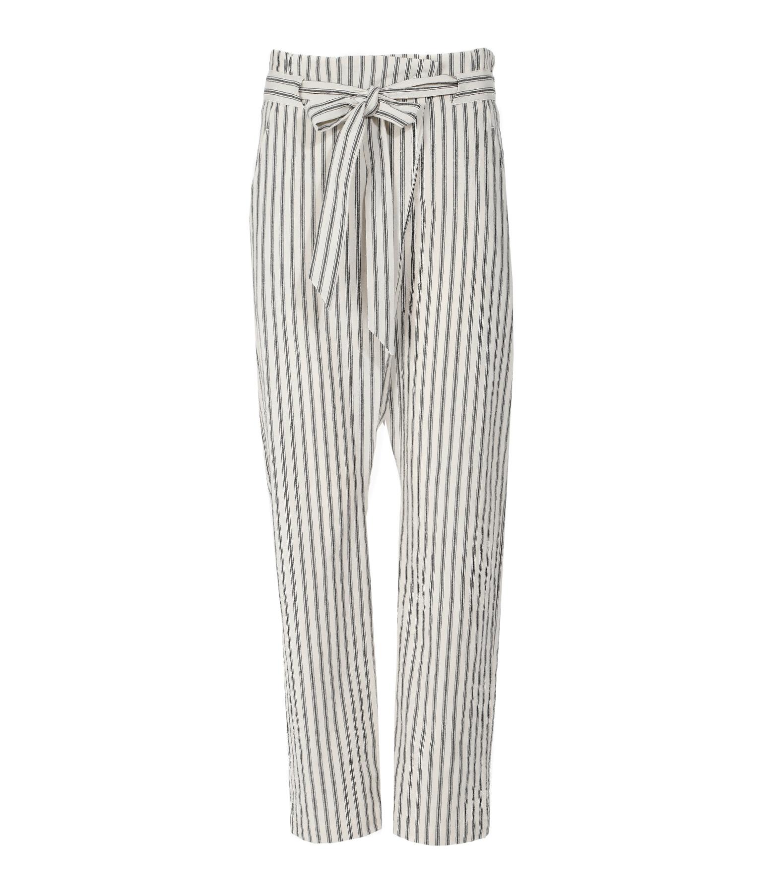 Pantalon Coton Rayures Ecru