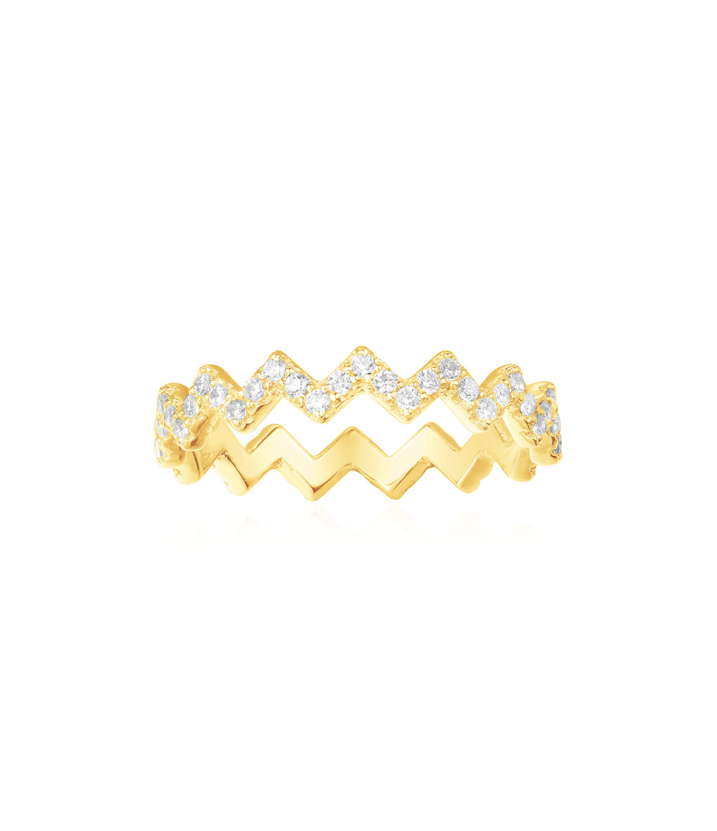 Bague Up and Down Argent Jaune