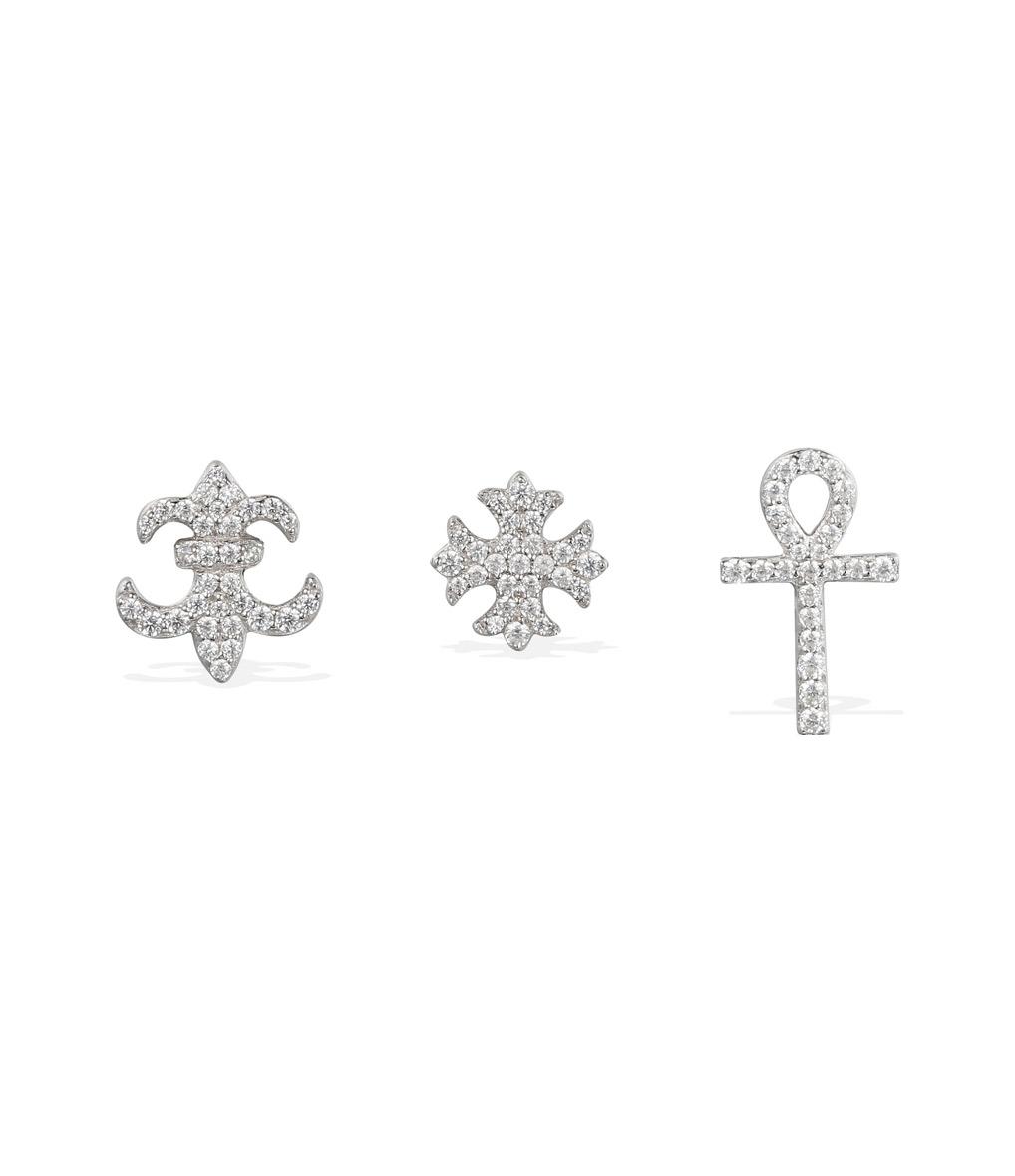 Lot Trois Boucles d'oreilles Symbole Argent