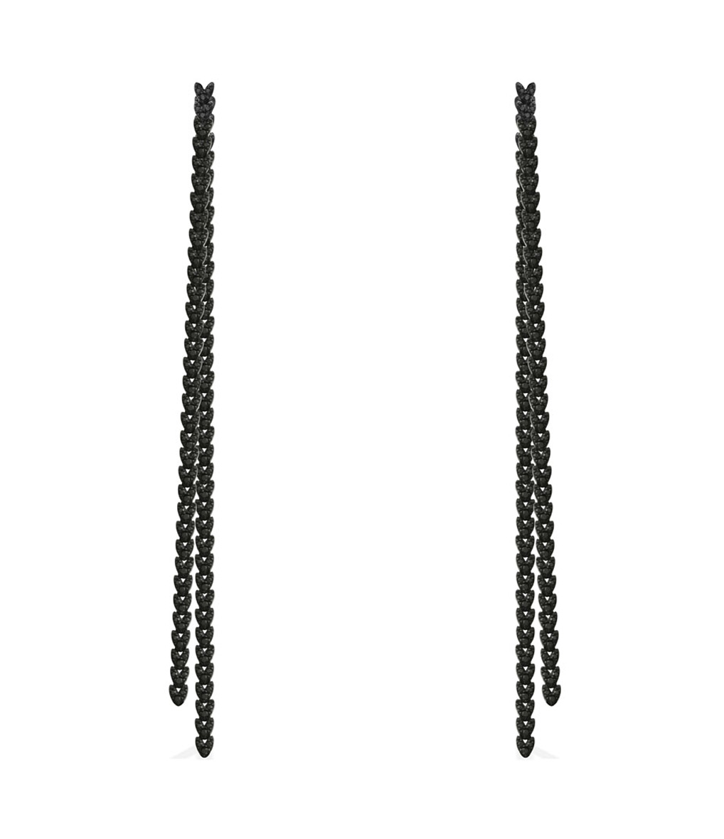 Boucles d'oreilles Longues Couture Argent Noir