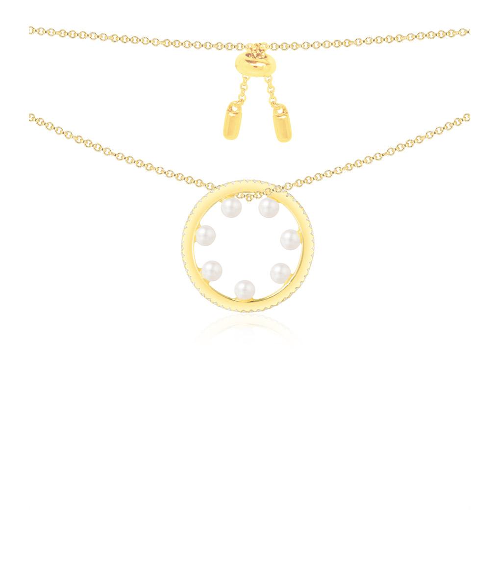 Collier Anneau Perles Amour