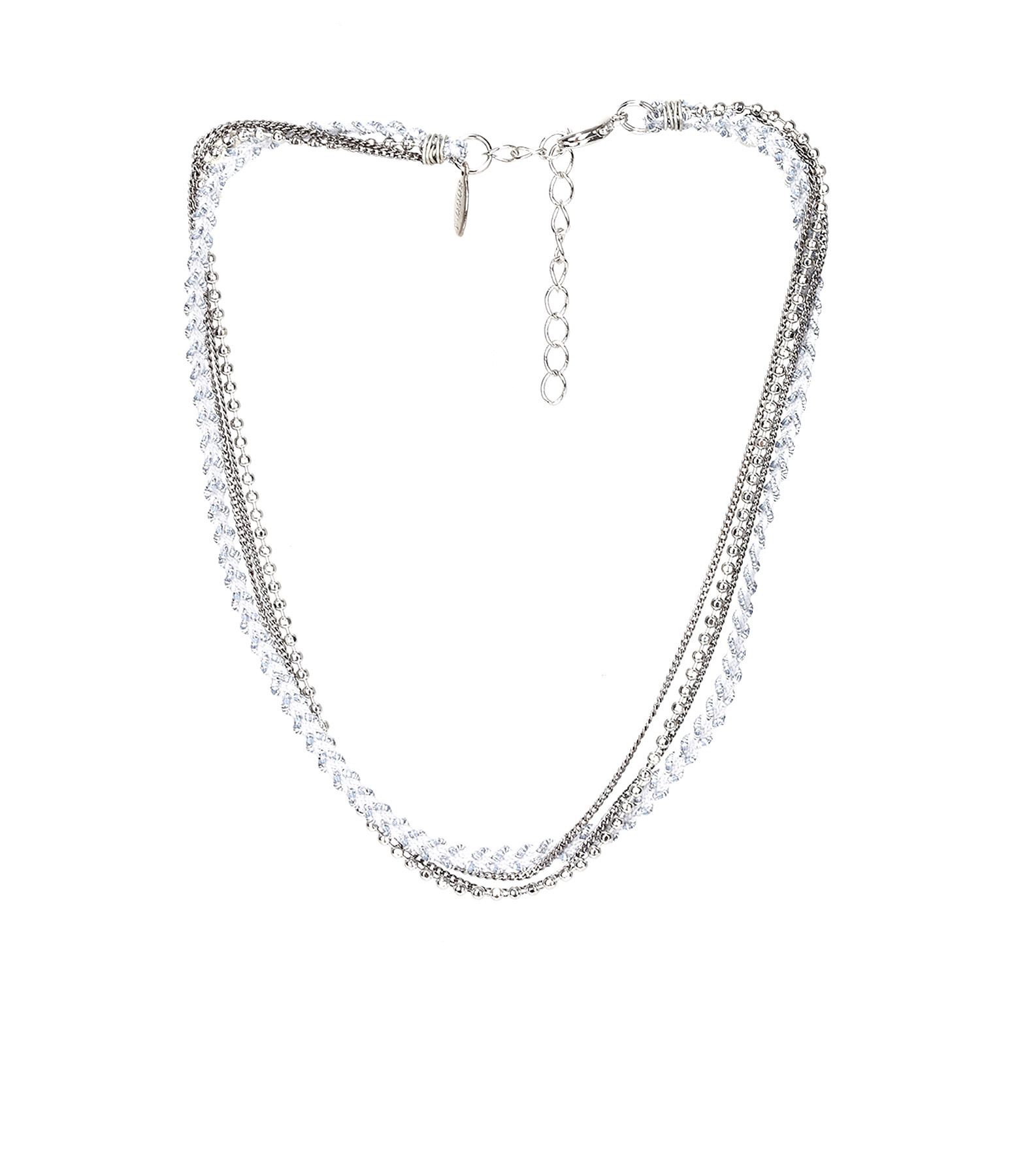 Collier Bracelet 4 rangs Fantaisie Gris