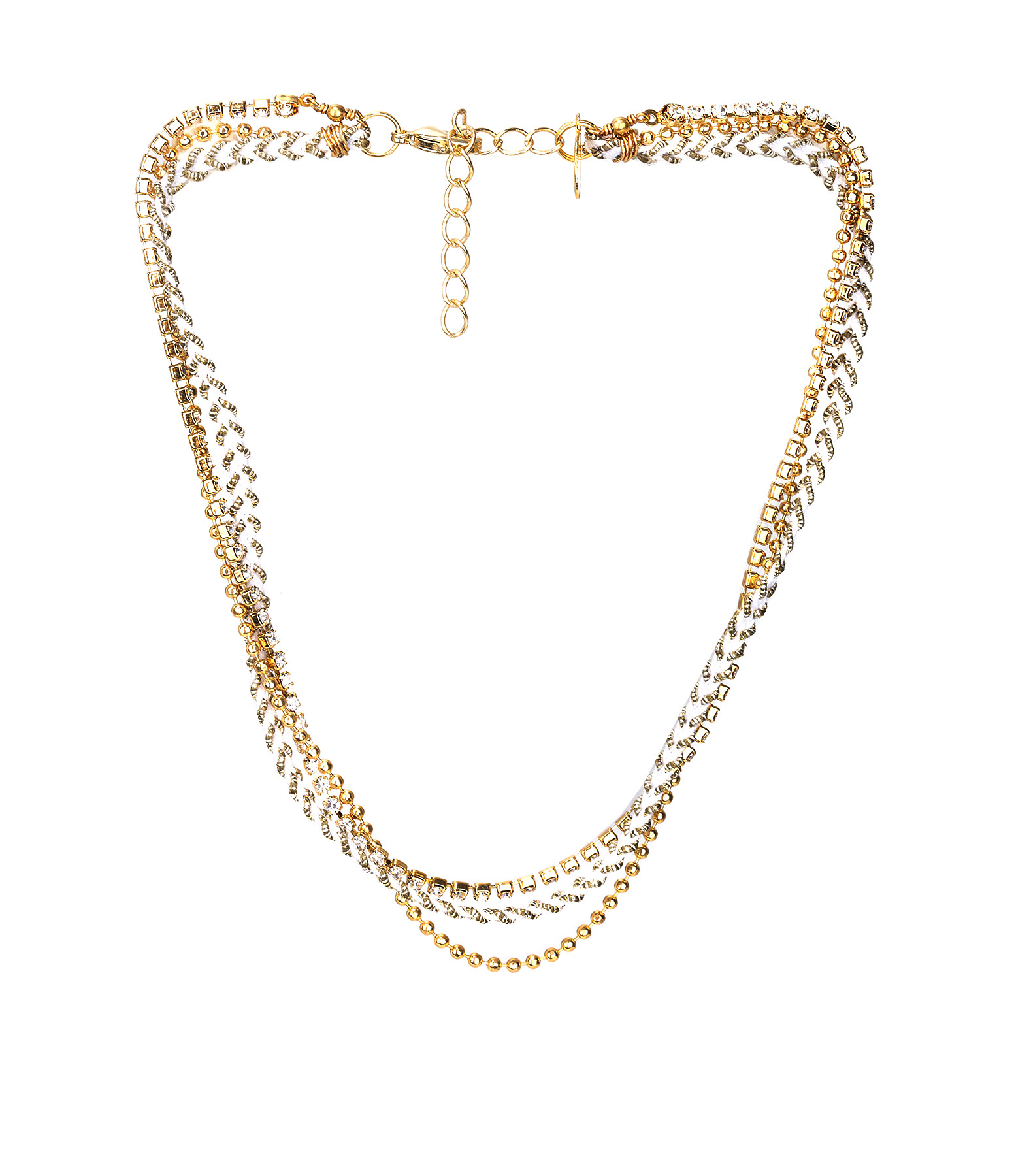 Collier Bracelet 3 rangs Strass Blanc