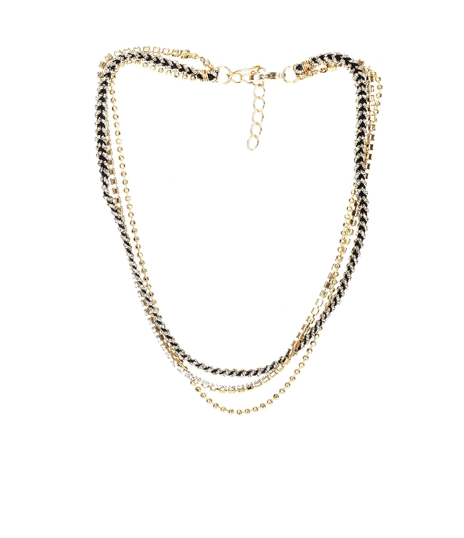 Collier / Bracelet 3 rangs Strass Noir