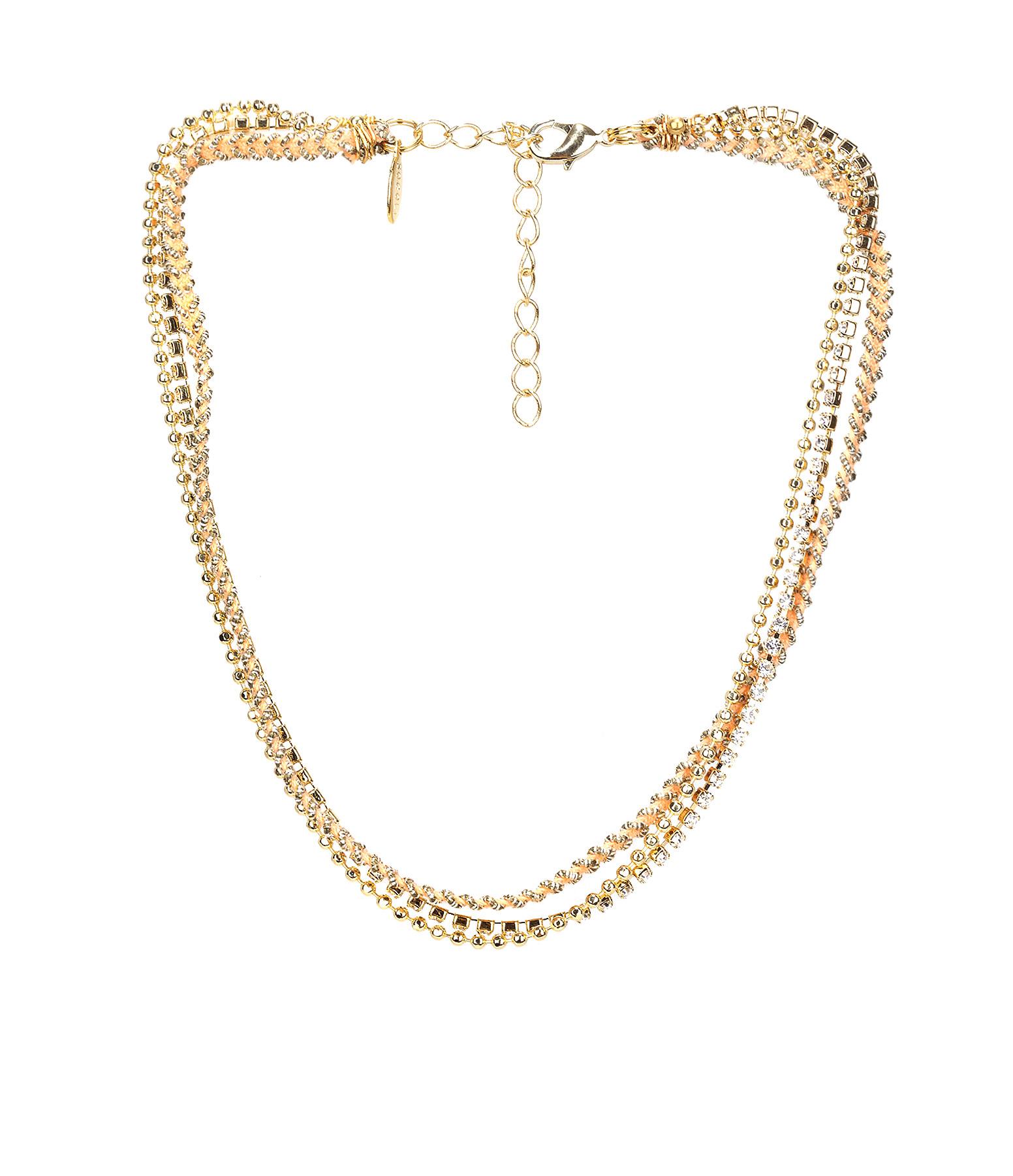 Collier / Bracelet 3 rangs Strass Pêche