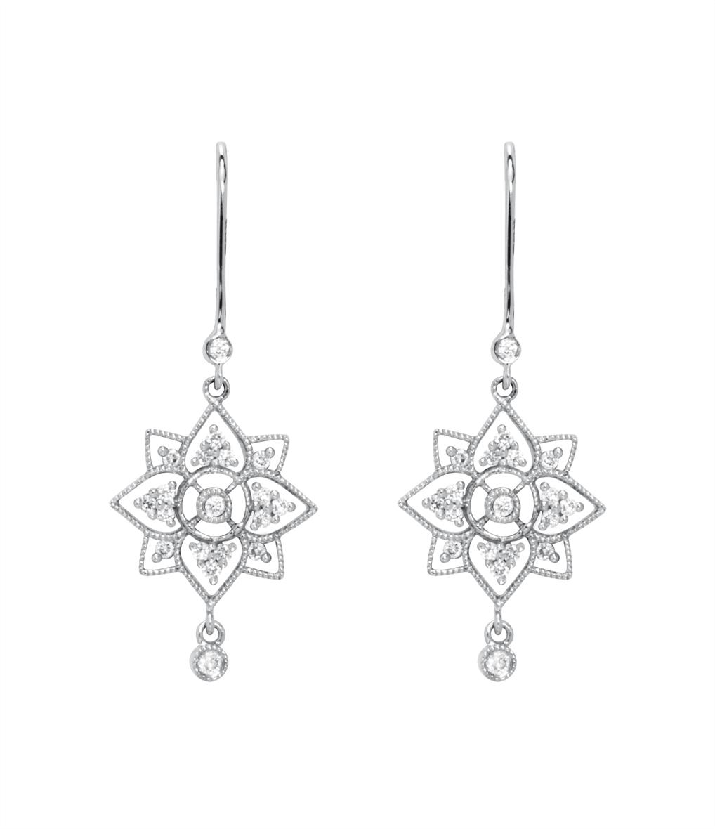 Boucles d'oreilles Dormeuses Fleur de Lotus Diams