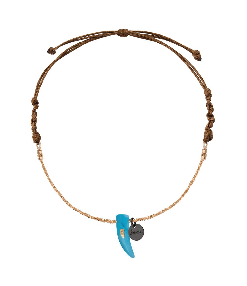 Bracelet Chaîne Cordon Corne Turquoise