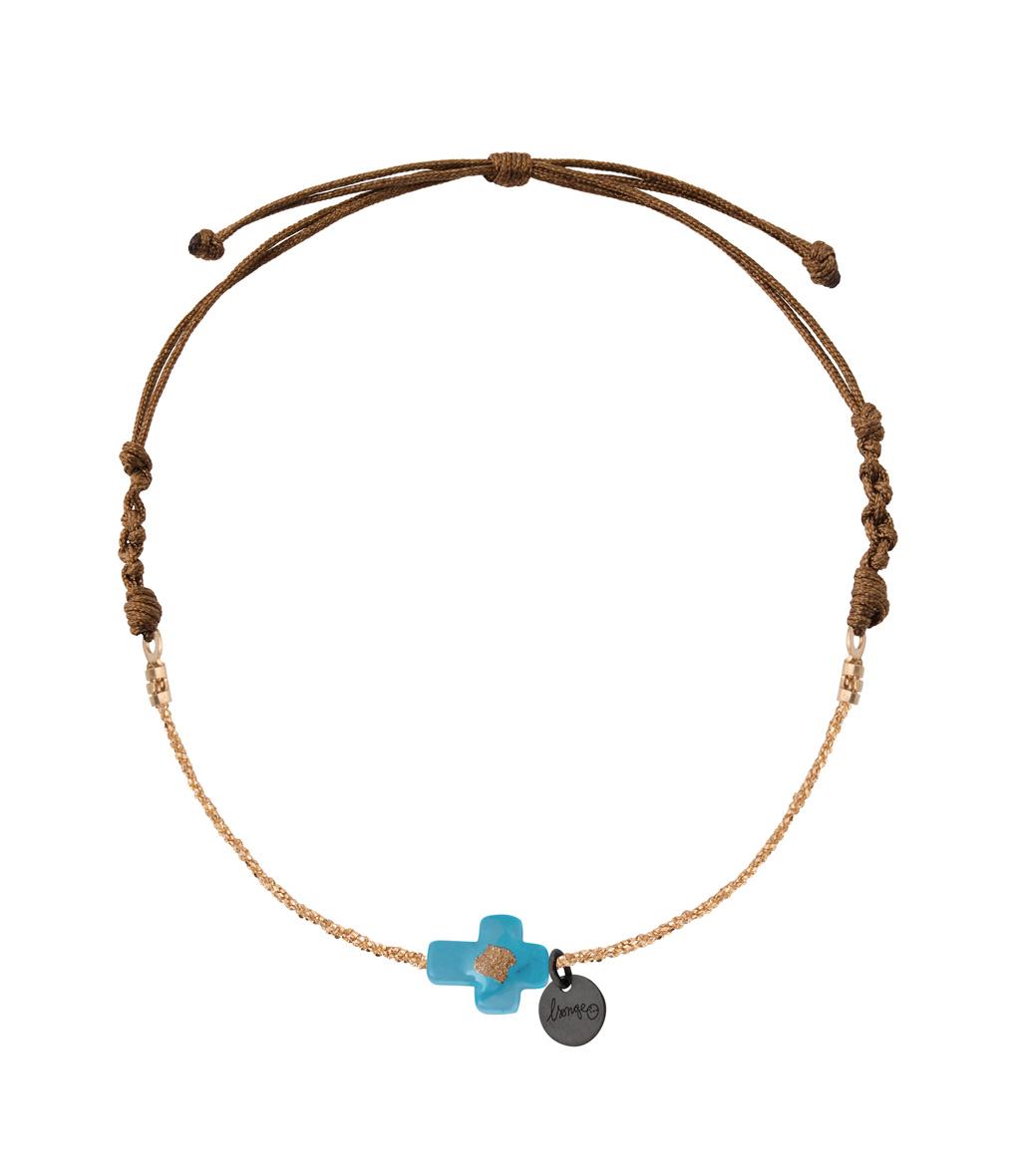 Bracelet Chaîne Cordon Croix Turquoise