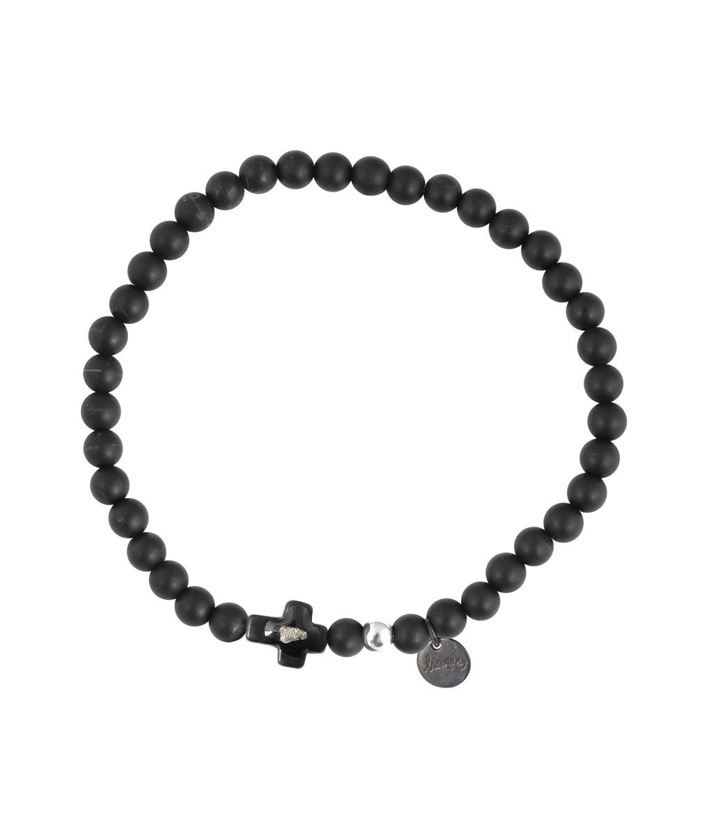 Bracelet Croix Perles Onyx