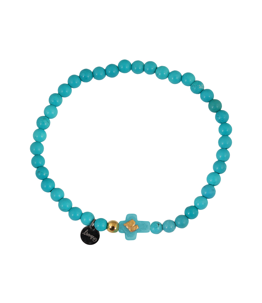 Bracelet Croix Perles Turquoise