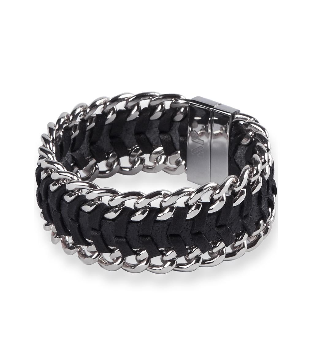 Bracelet Aska Chain Cuir Noir