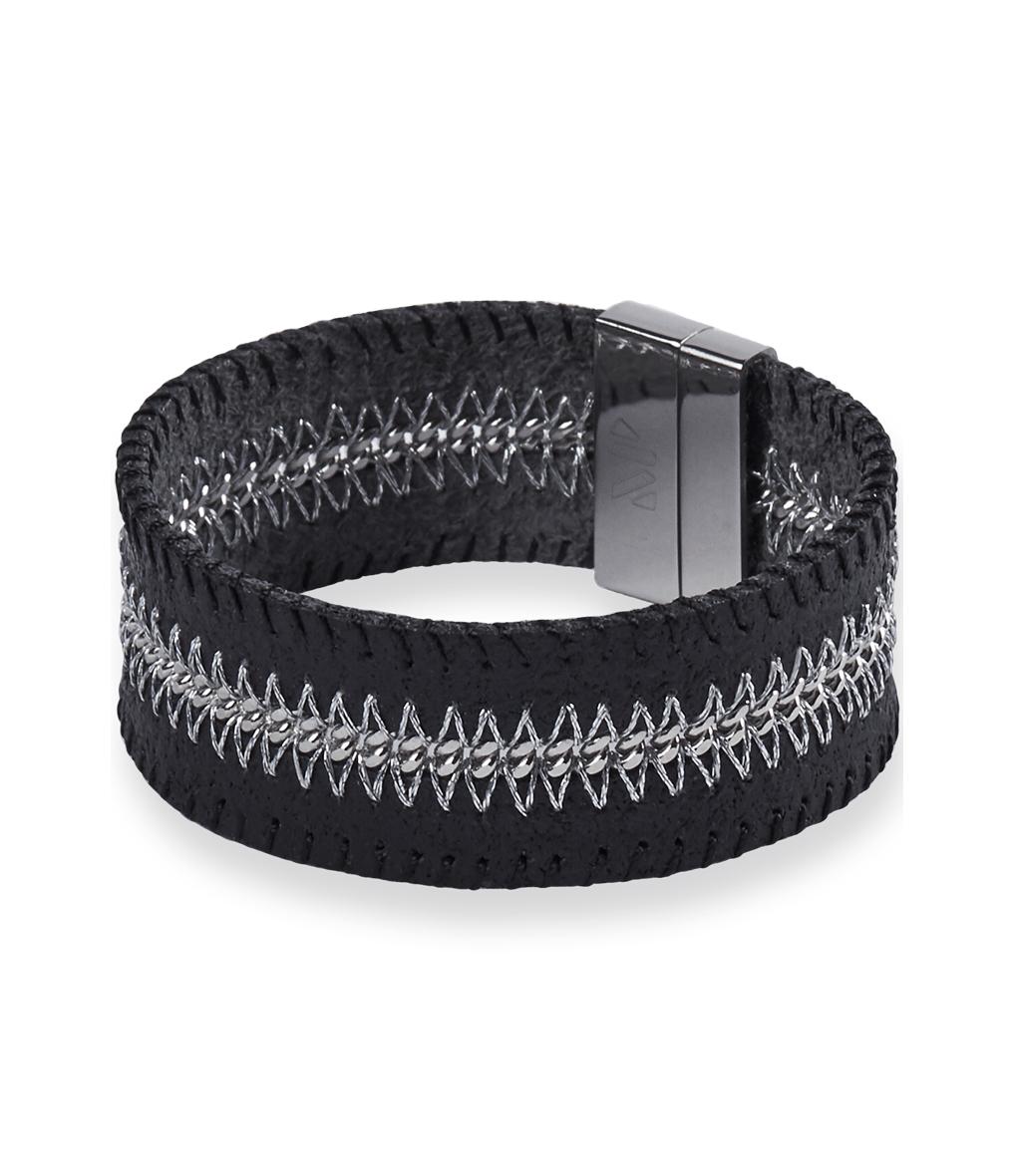 Bracelet Mazaska Bone Cuir Noir
