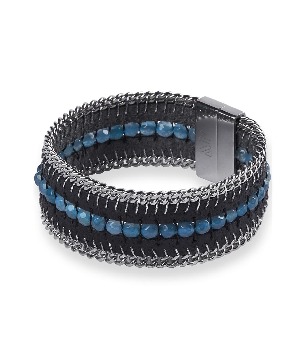 Bracelet Tozi Pearl Cuir Noir