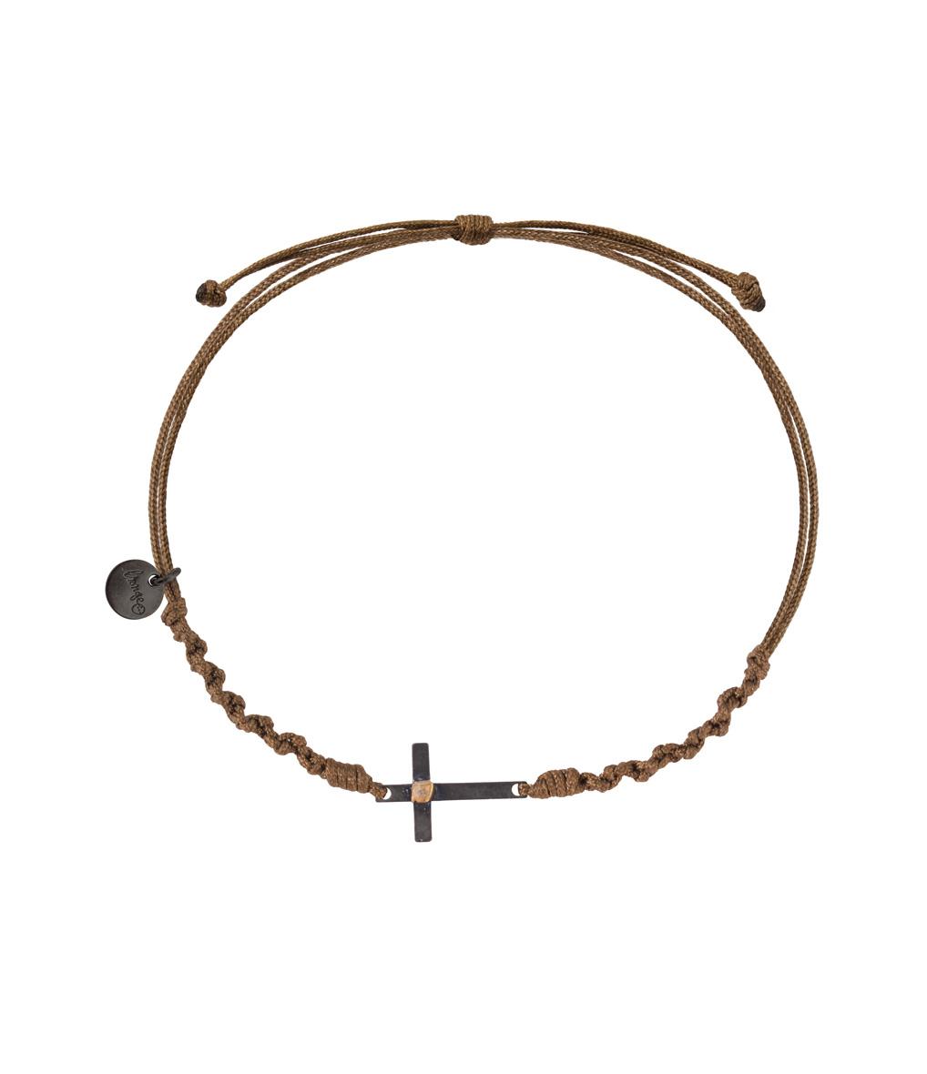 Bracelet Homme Croix Argent Noir