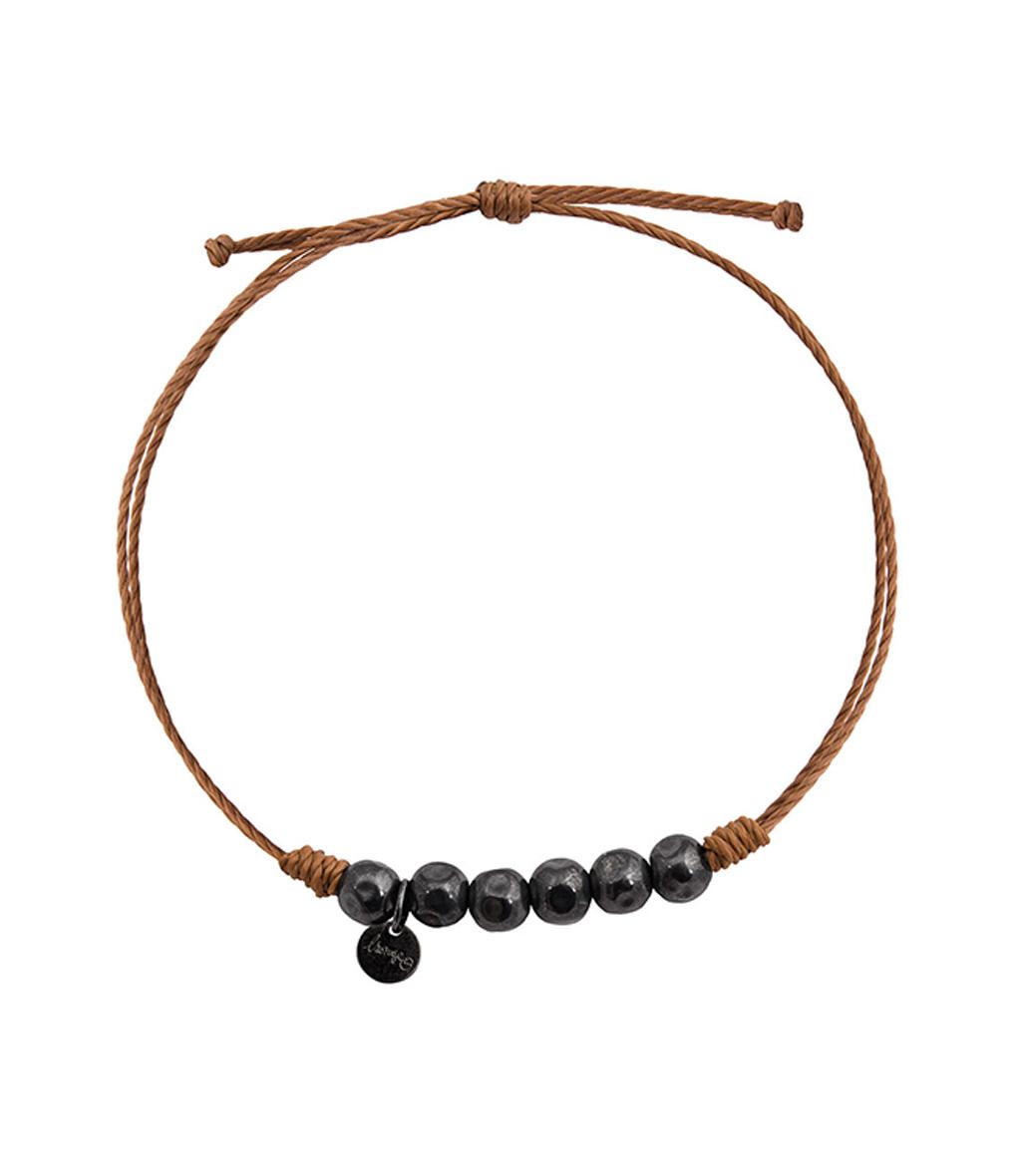 Bracelet Homme Perles Argent Noir
