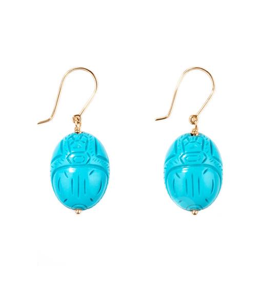 Boucles d'oreilles Scarabée Turquoise GM
