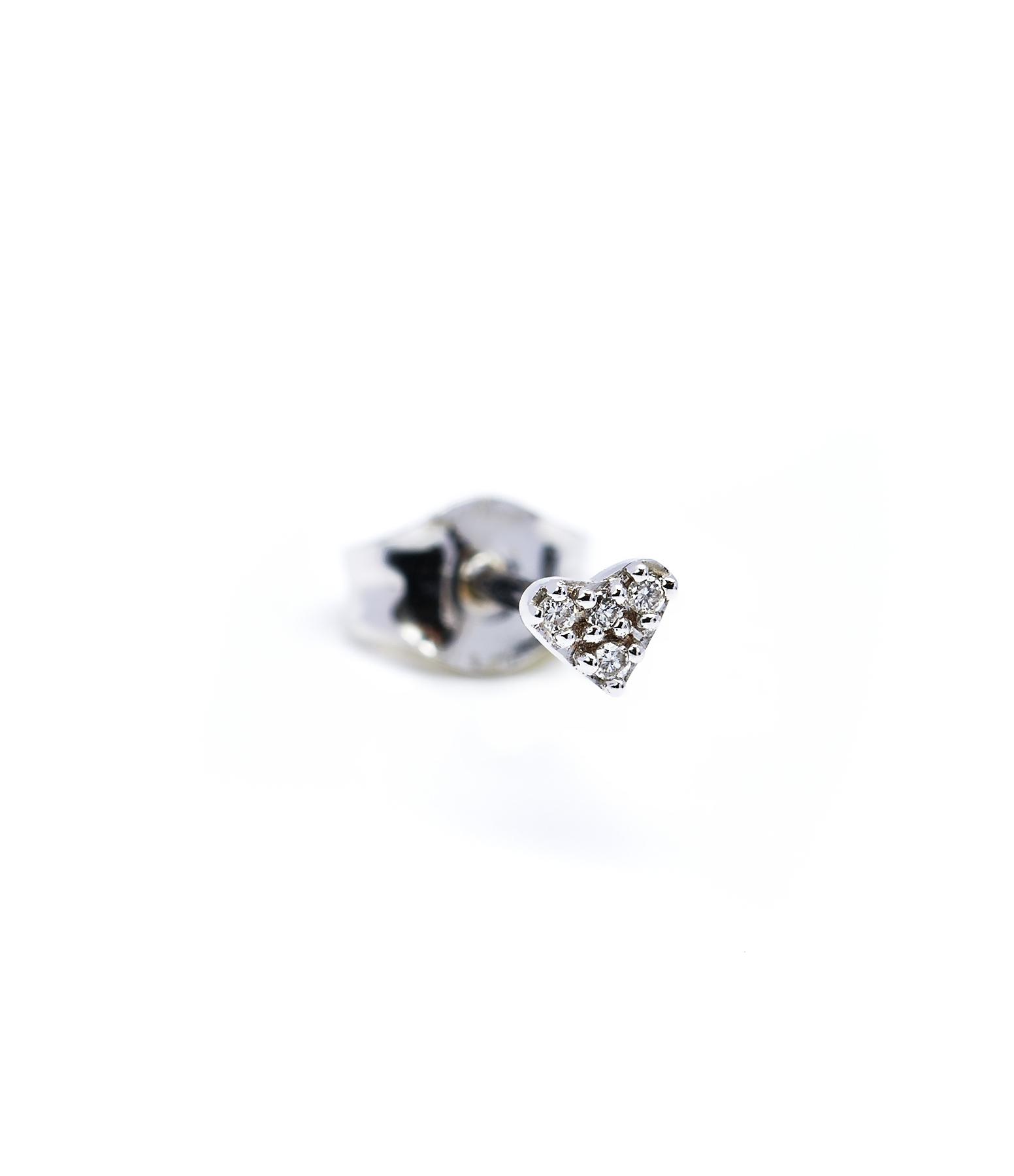 Boucle Mini Coeur 18K Diamants blancs (vendue à l'unité)