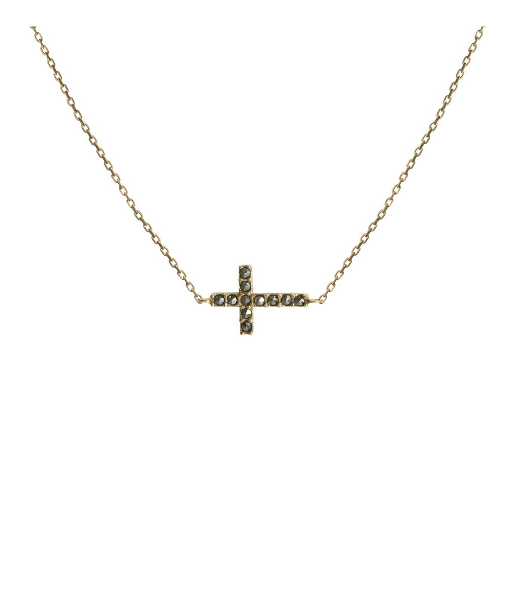 Collier Croix Marcassite 9K
