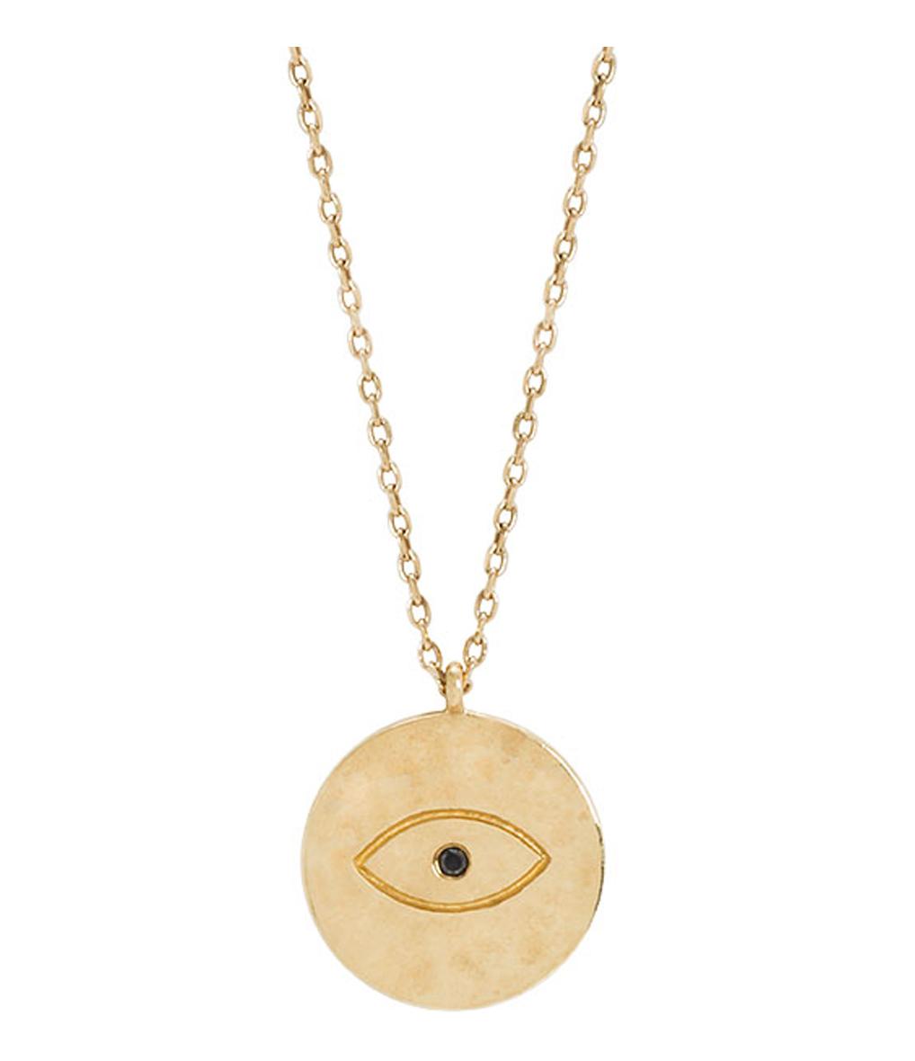 Collier Long Médaille Oeil Ibiza 9K