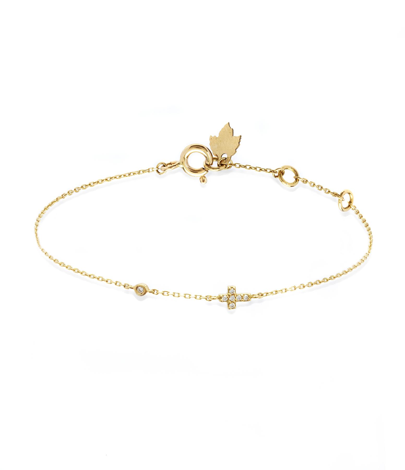 Bracelet Eternel Croix Diamants 18K