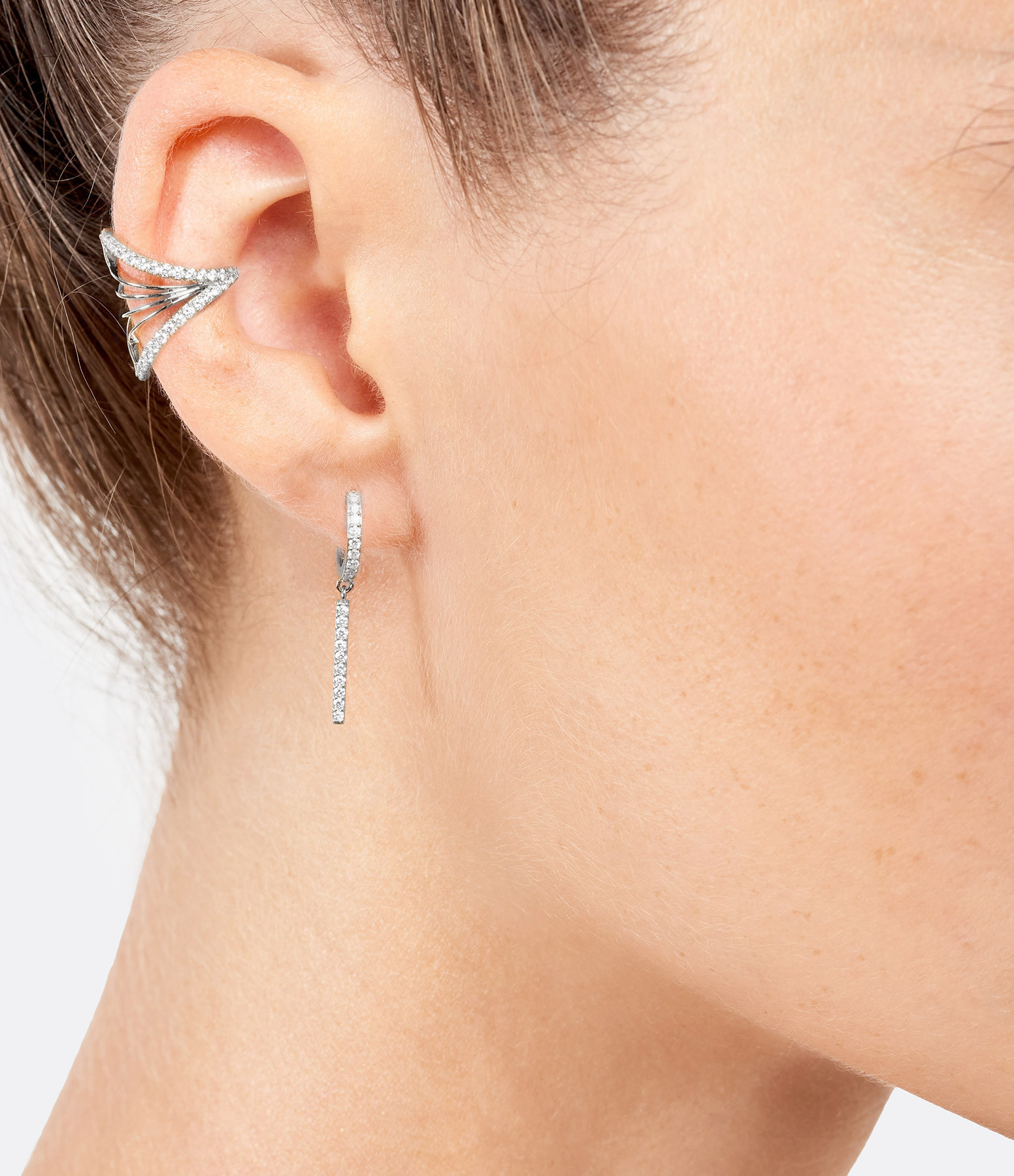 NAVA JOAILLERIE - Boucle d'oreille Hash Diamants Or Blanc (Vendue à l'unité)