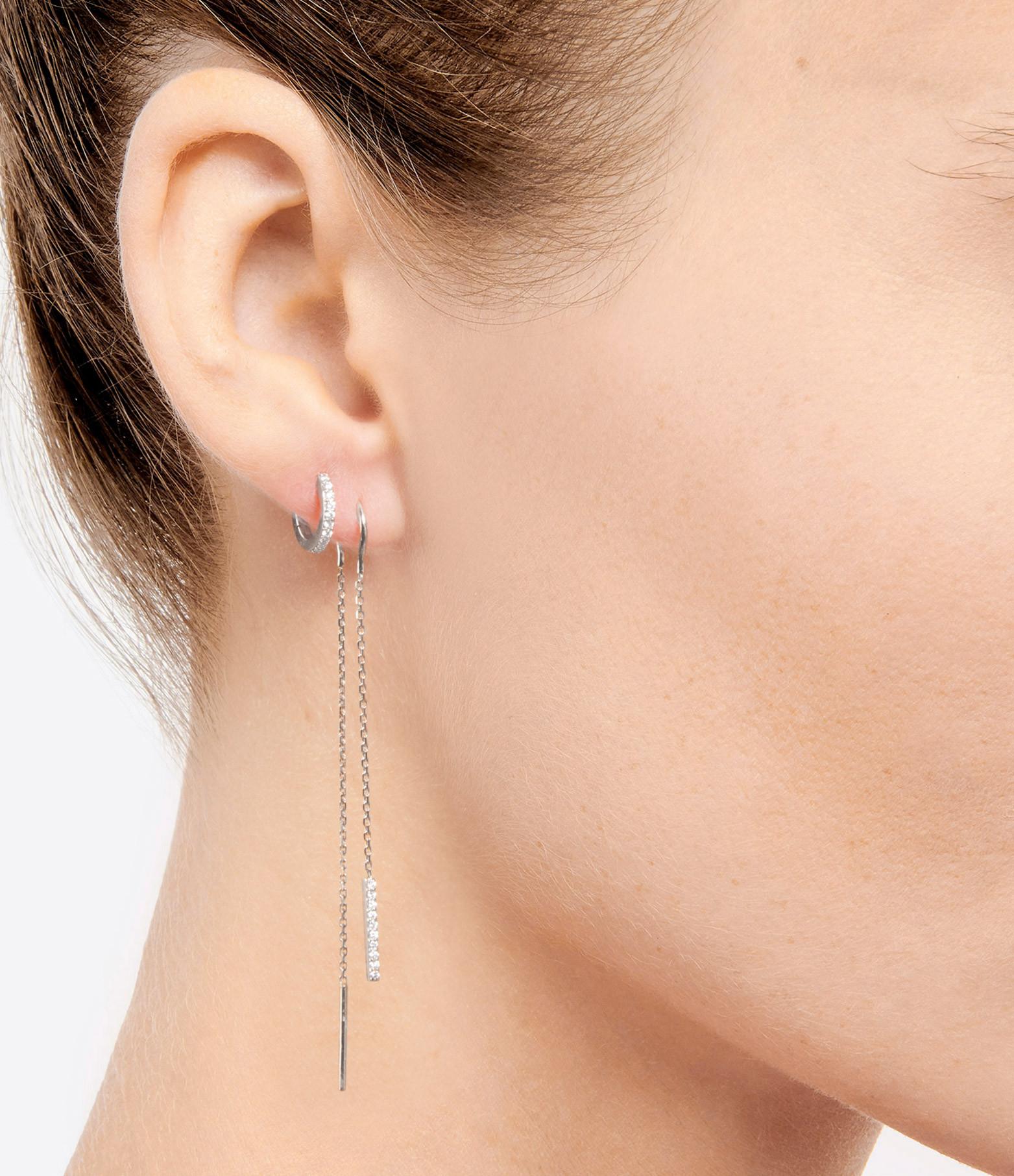 NAVA JOAILLERIE - Boucles d'oreilles Barrette Chaîne Hash Or Blanc