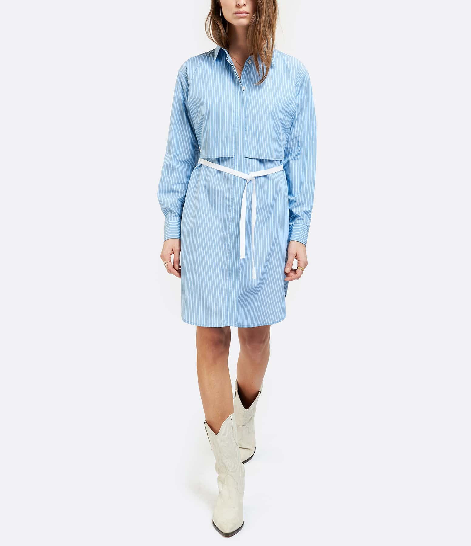 MM6 MAISON MARGIELA - Robe Chemise Popeline Coton Blanc Bleu