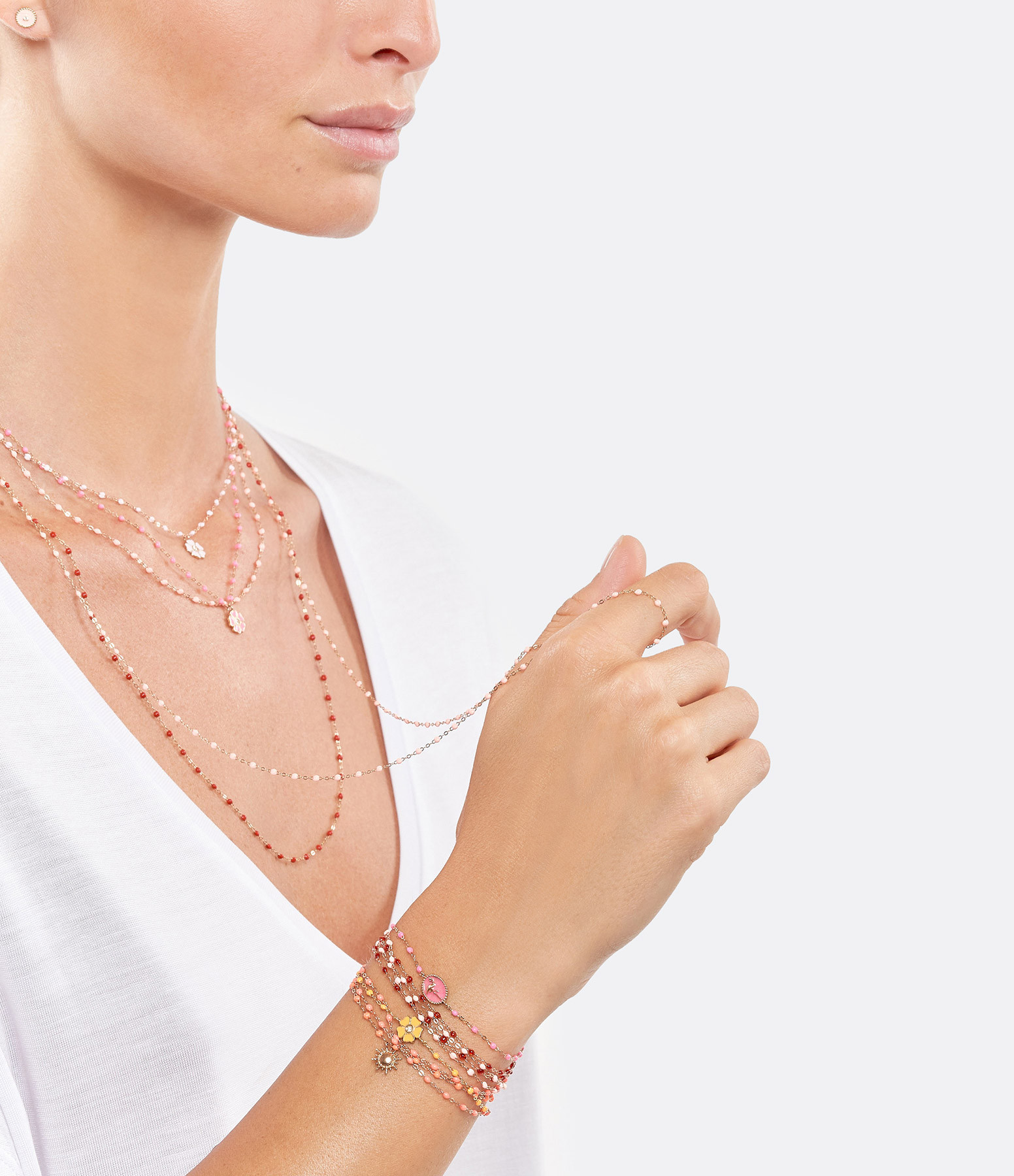 GIGI CLOZEAU - Bracelet Flamant Rose Perles Résine OG Rose Fluo