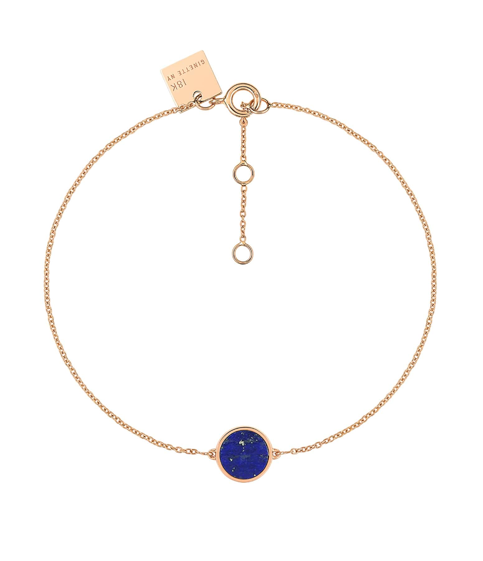 GINETTE NY - Bracelet Ever Mini Disc Or Rose Lapis Lazuli