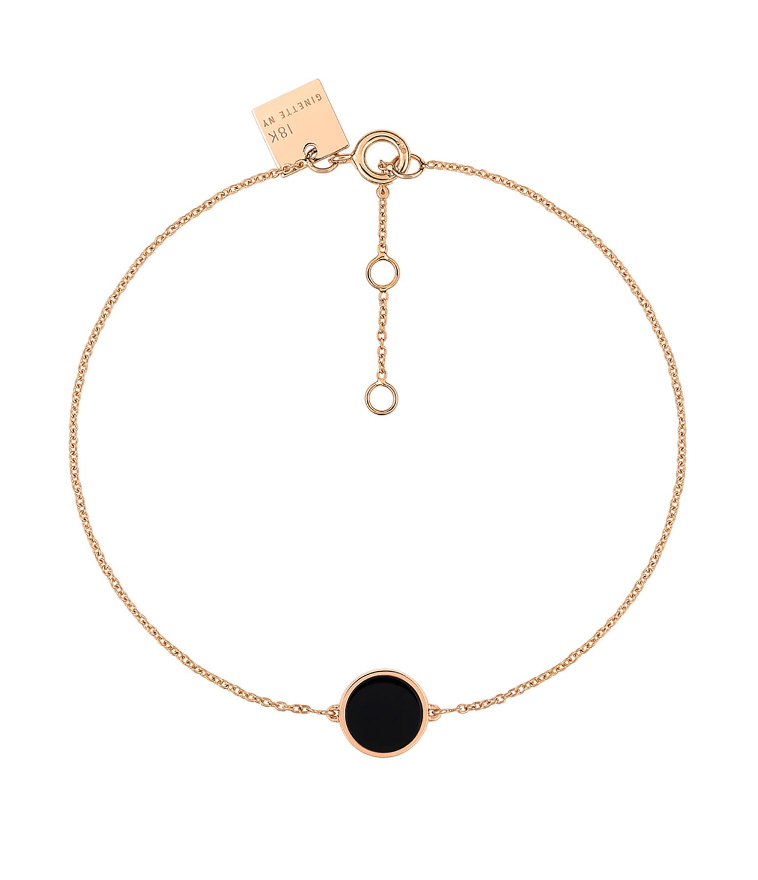 GINETTE NY - Bracelet Ever Mini Disc Or Rose Onyx