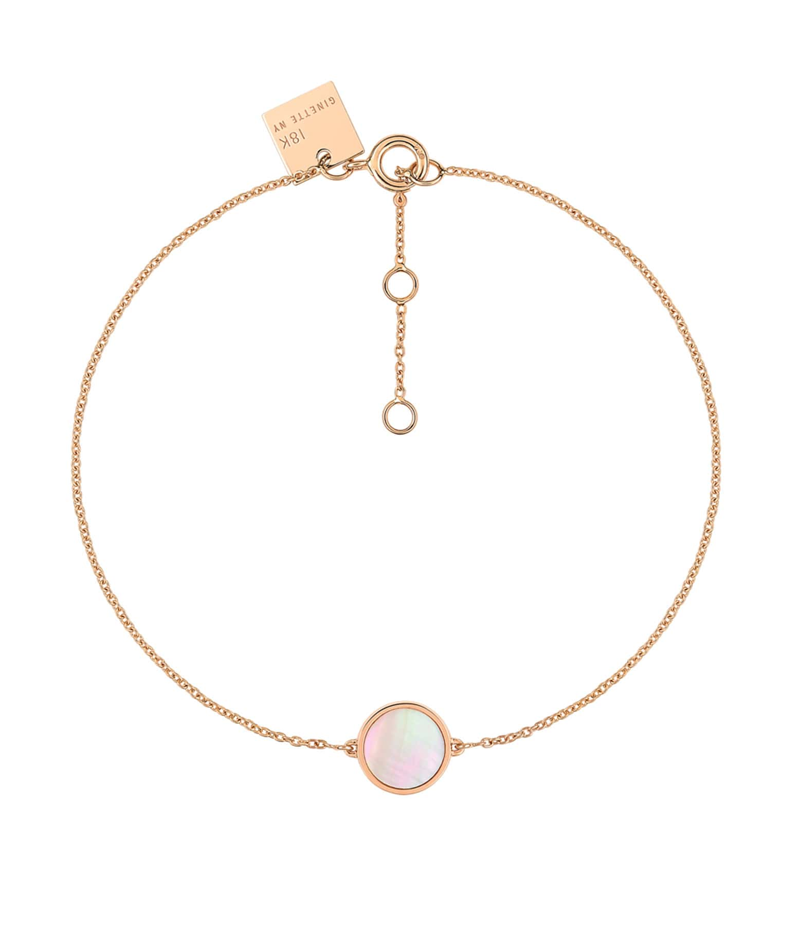 GINETTE NY - Bracelet Ever Mini Disc Or Rose Nacre Rose