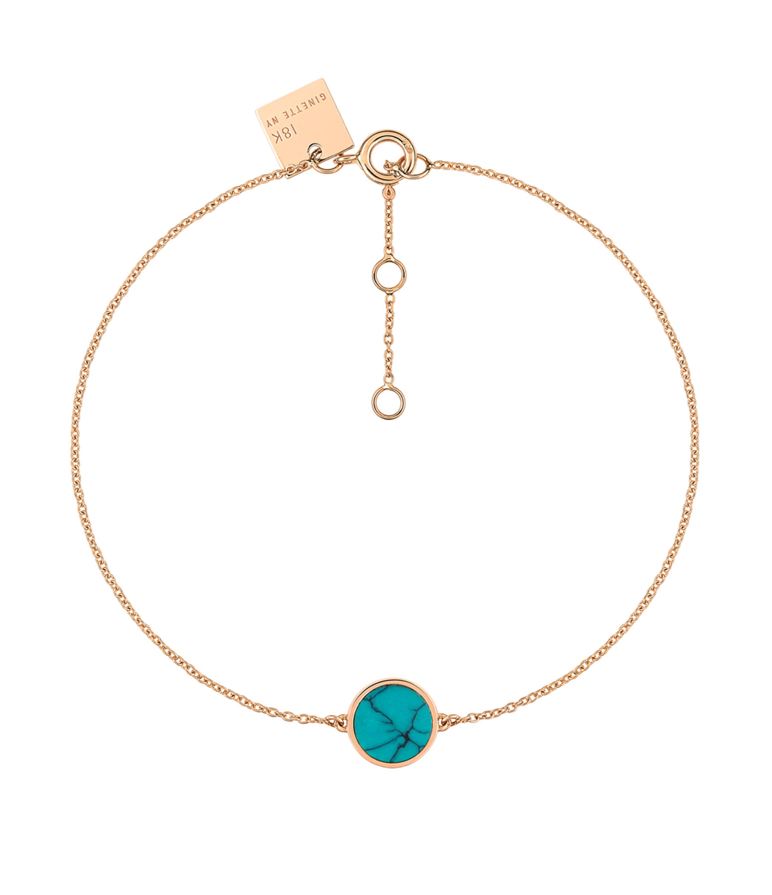 GINETTE NY - Bracelet Ever Mini Disc Or Rose Turquoise