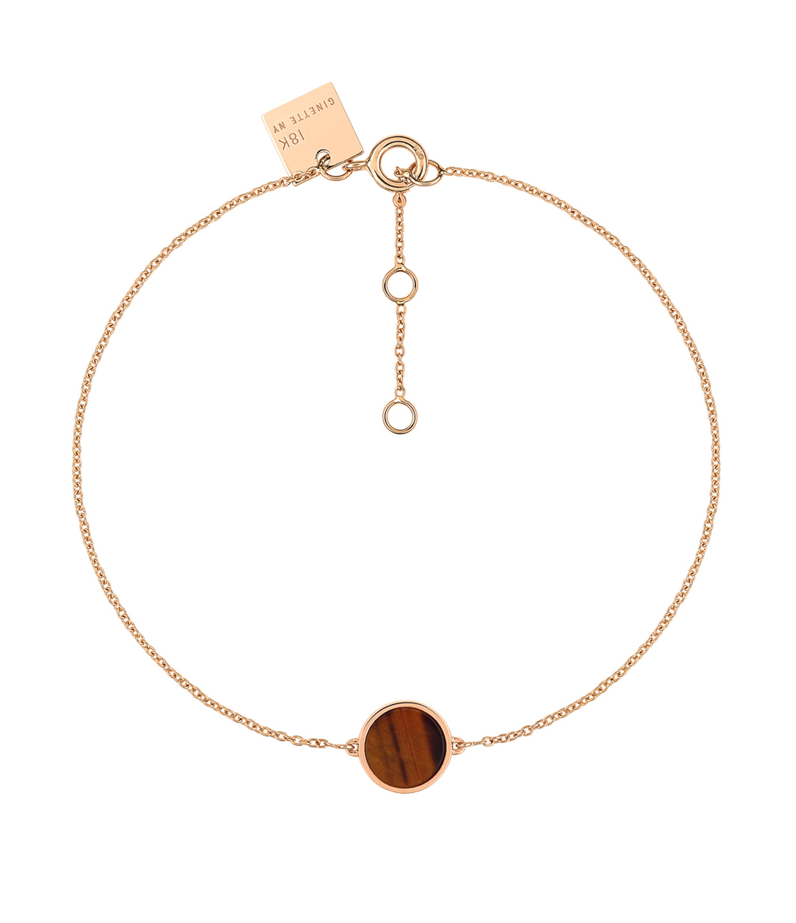 GINETTE NY - Bracelet Ever Mini Disc Or Rose Œil de Tigre