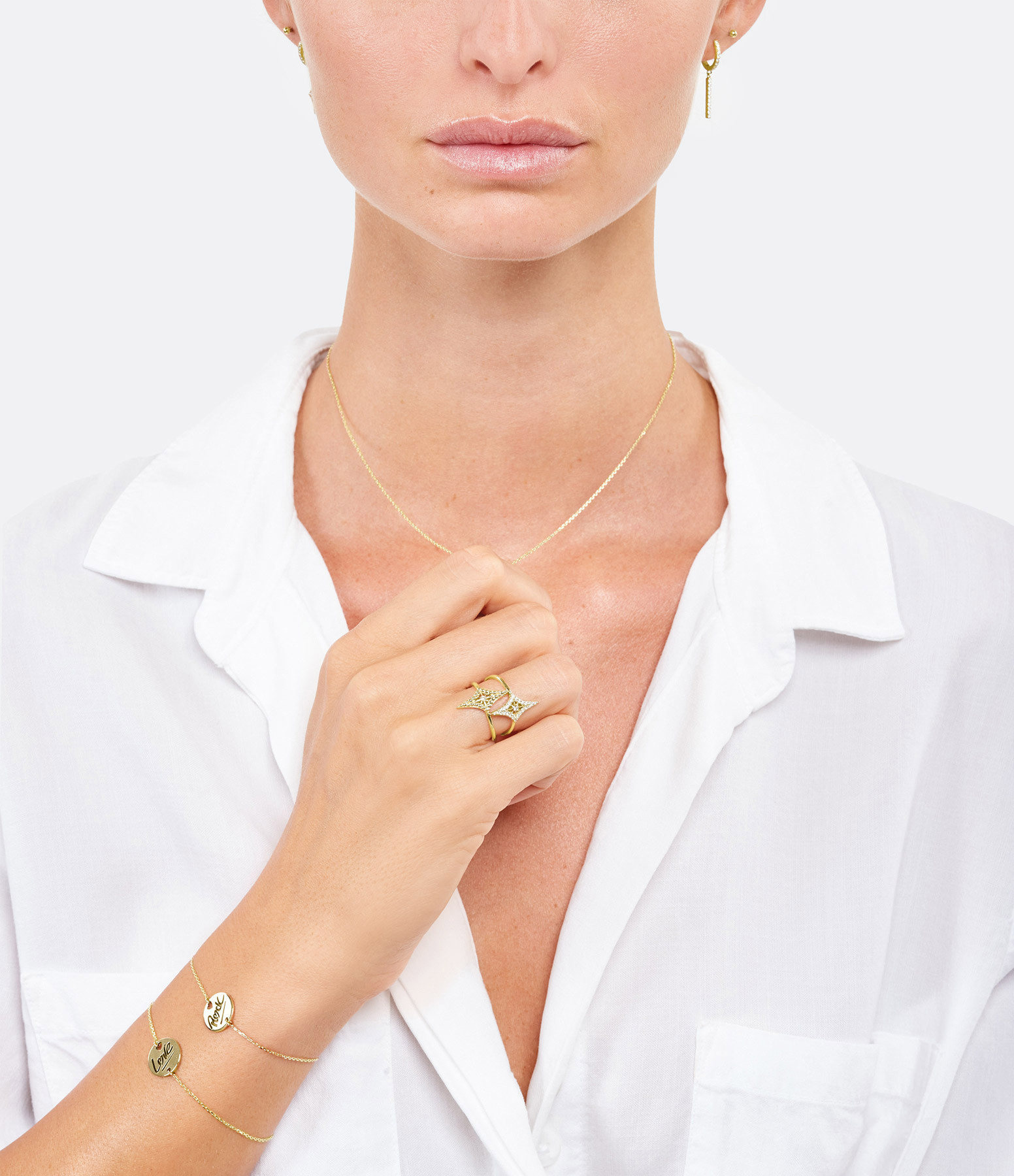 NAVA JOAILLERIE - Bague Mini-Cheyenne Losange Diamants Or Jaune