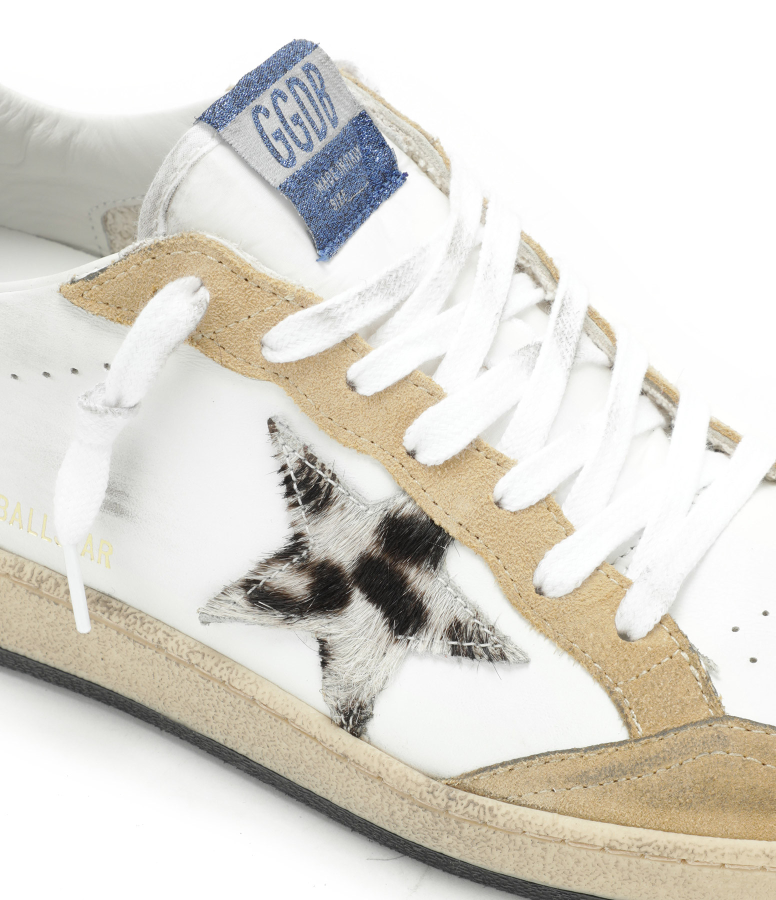 GOLDEN GOOSE - Baskets Ball Star Cuir Cappuccino Horsy Léopard