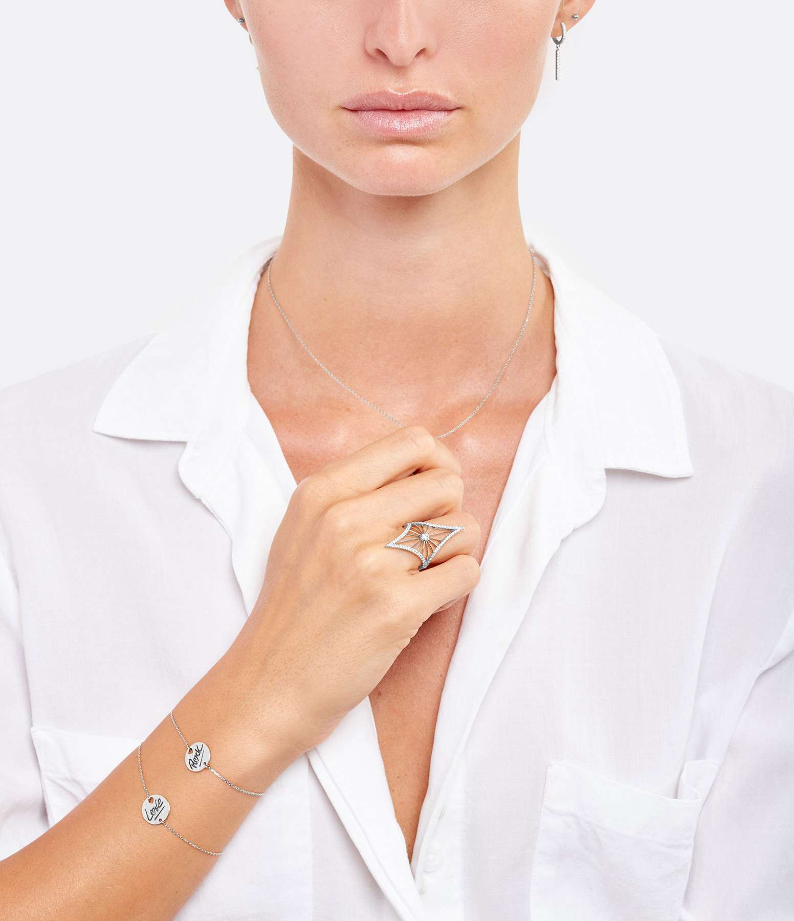 NAVA JOAILLERIE - Bague Cheyenne Losange Diamants Or Blanc