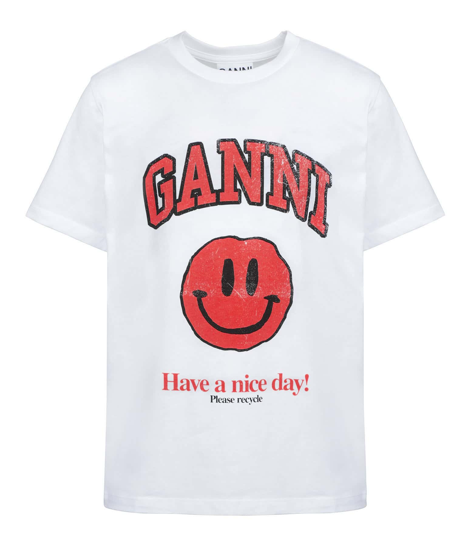 GANNI - Tee-shirt Ganni Coton Biologique Blanc Rouge