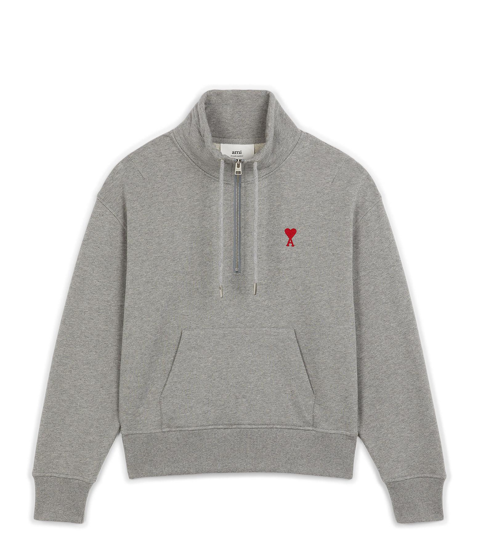 AMI PARIS - Sweatshirt Zip Ami de Coeur Coton Biologique Gris
